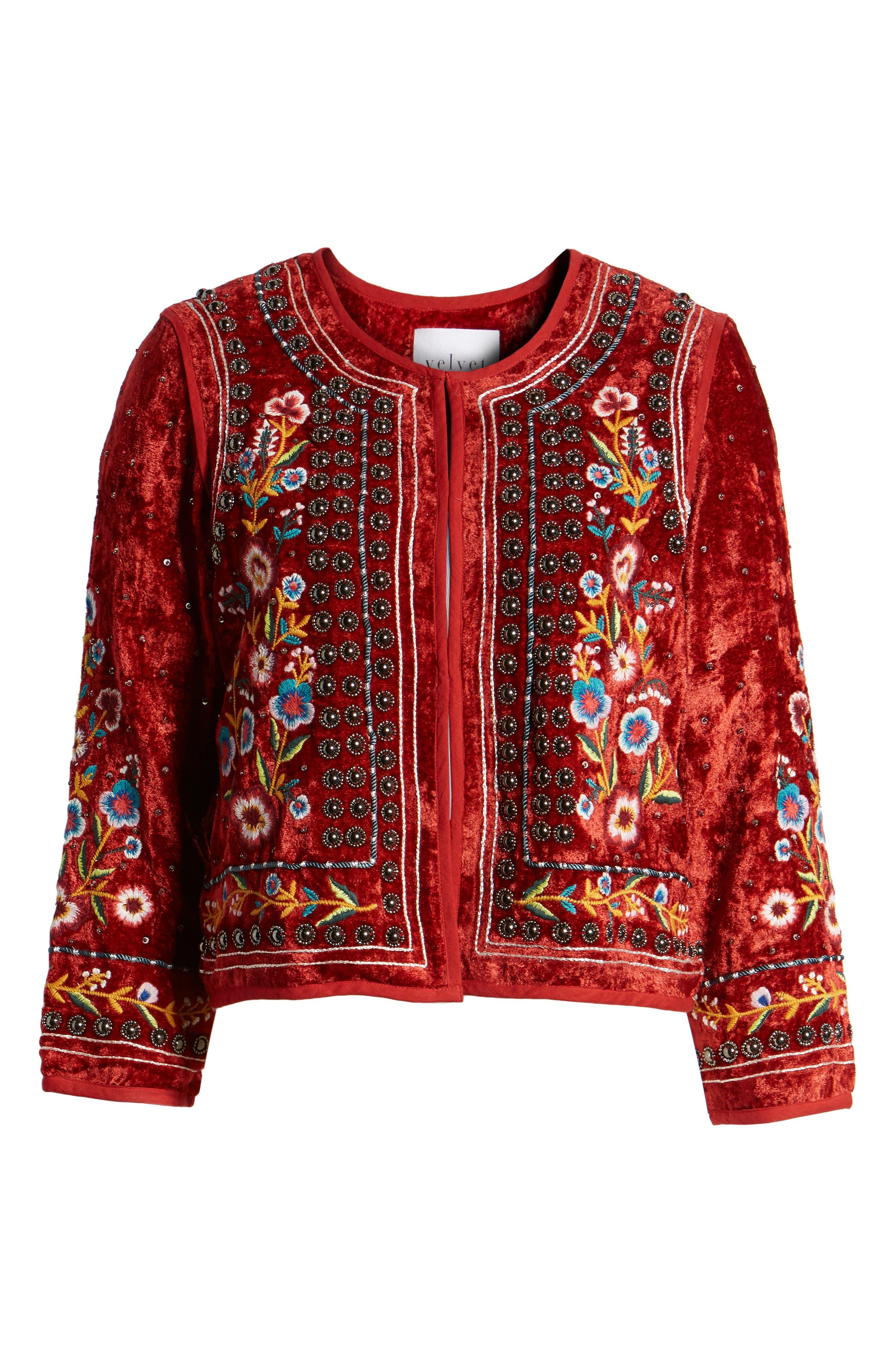Embroidered Velvet Jacket,                             Alternate thumbnail 6, color,                             RED