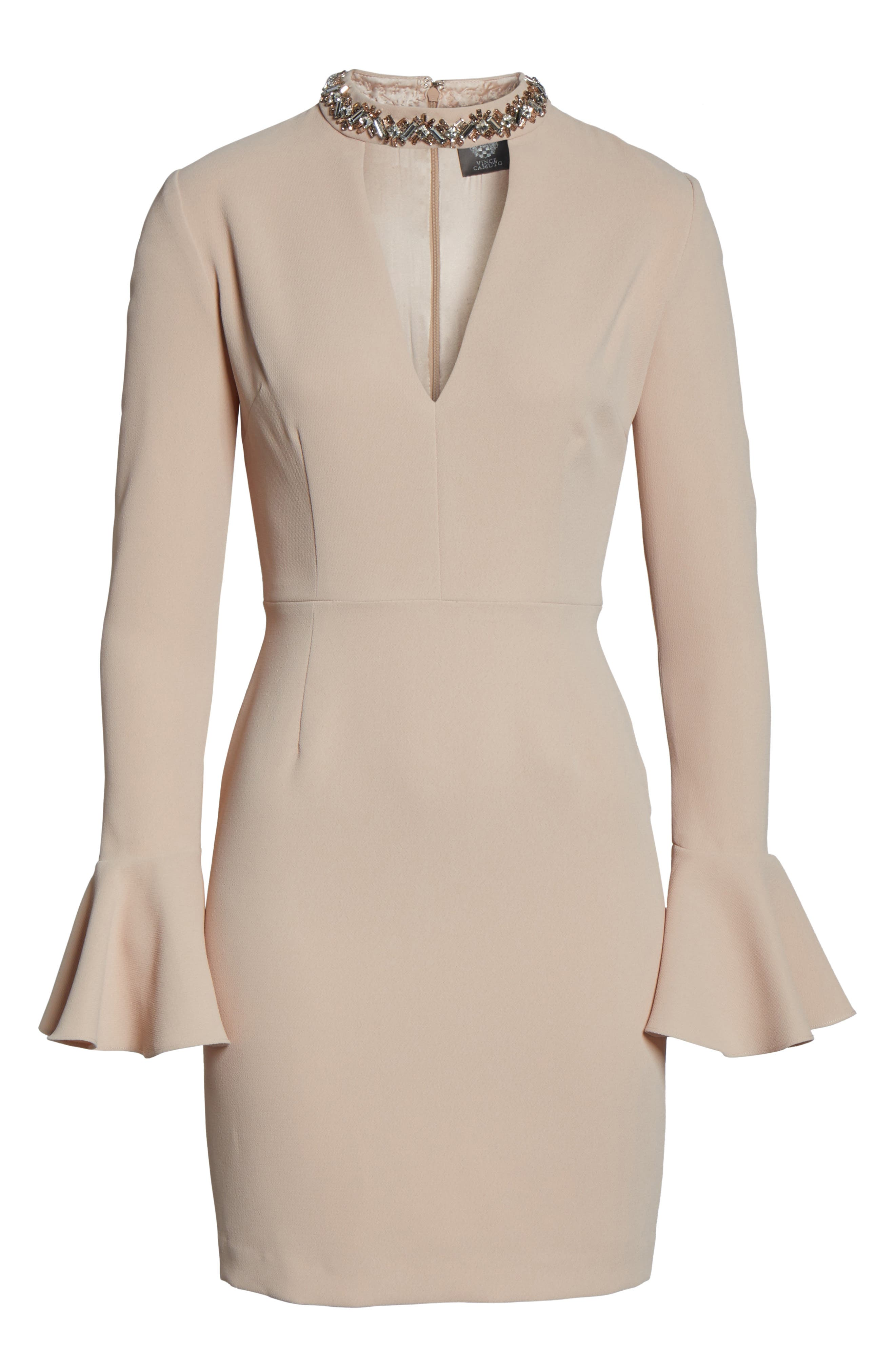 Crystal Choker Bell Sleeve Sheath Dress,                             Alternate thumbnail 12, color,
