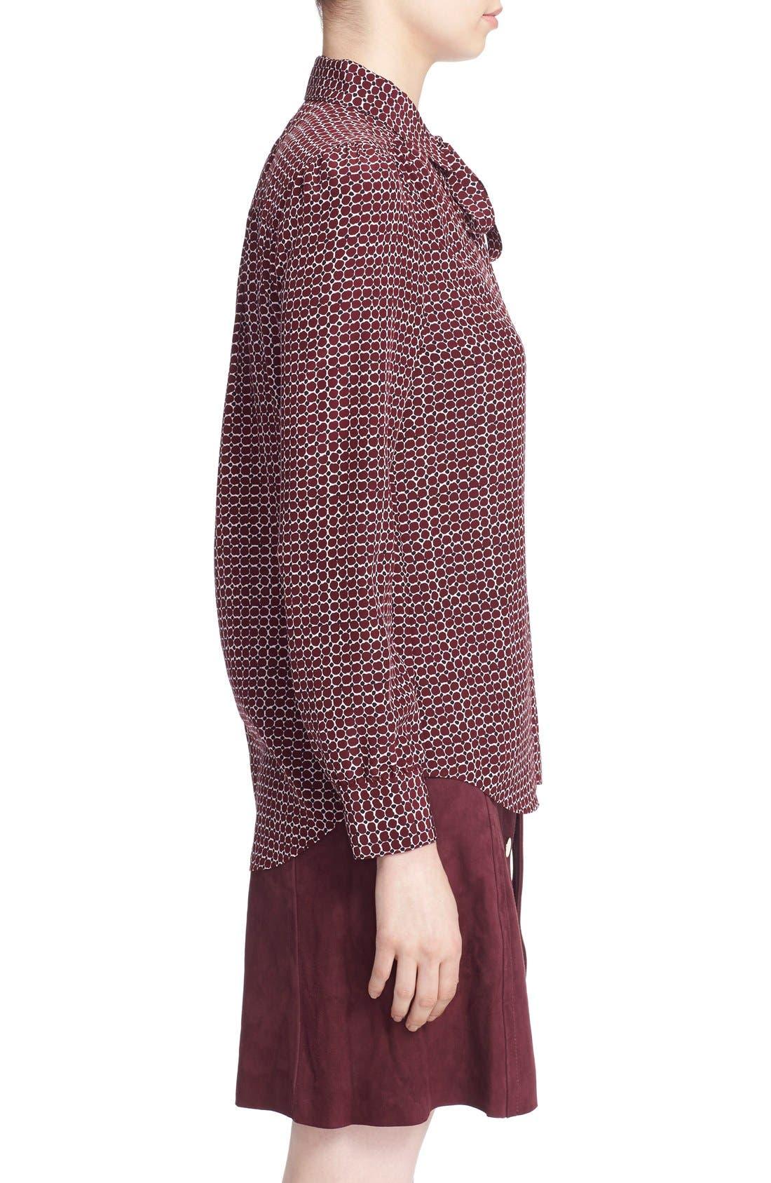'parker dot' print silk bow blouse,                             Alternate thumbnail 3, color,                             619
