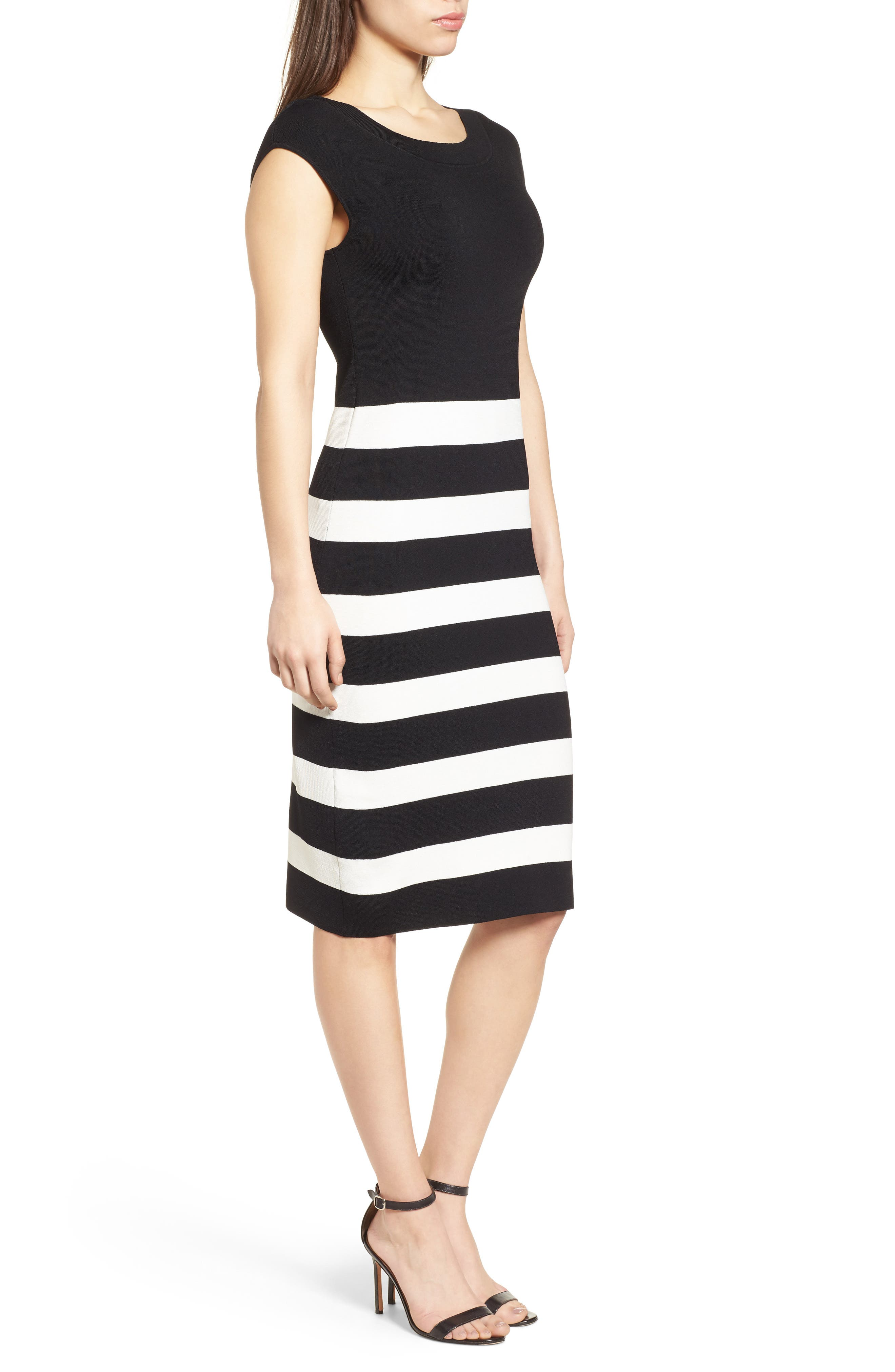 Bow Back Striped Sweater Dress,                             Alternate thumbnail 3, color,                             001