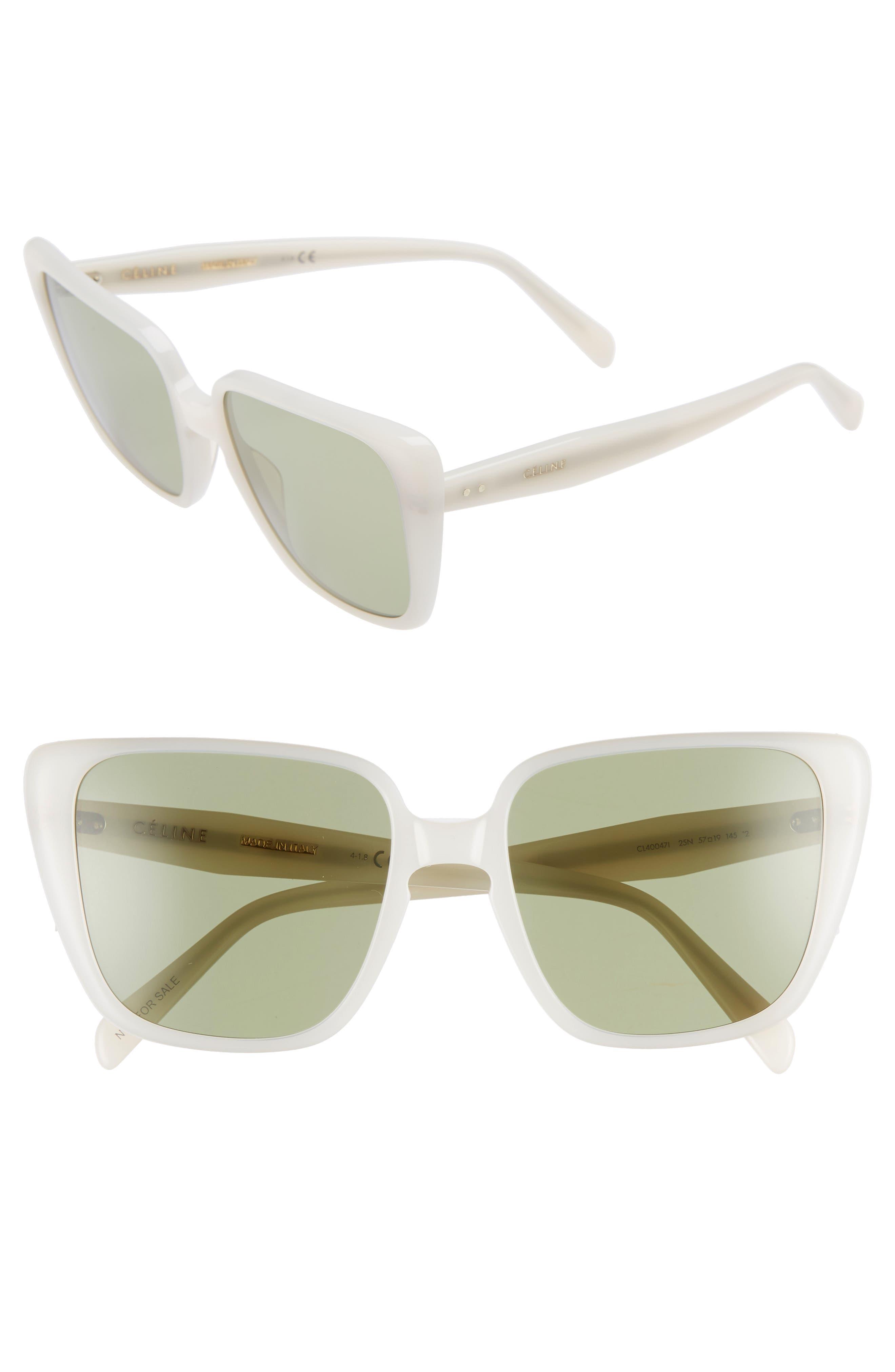 57Mm Modified Square Cat Eye Sunglasses - Milky White Swan