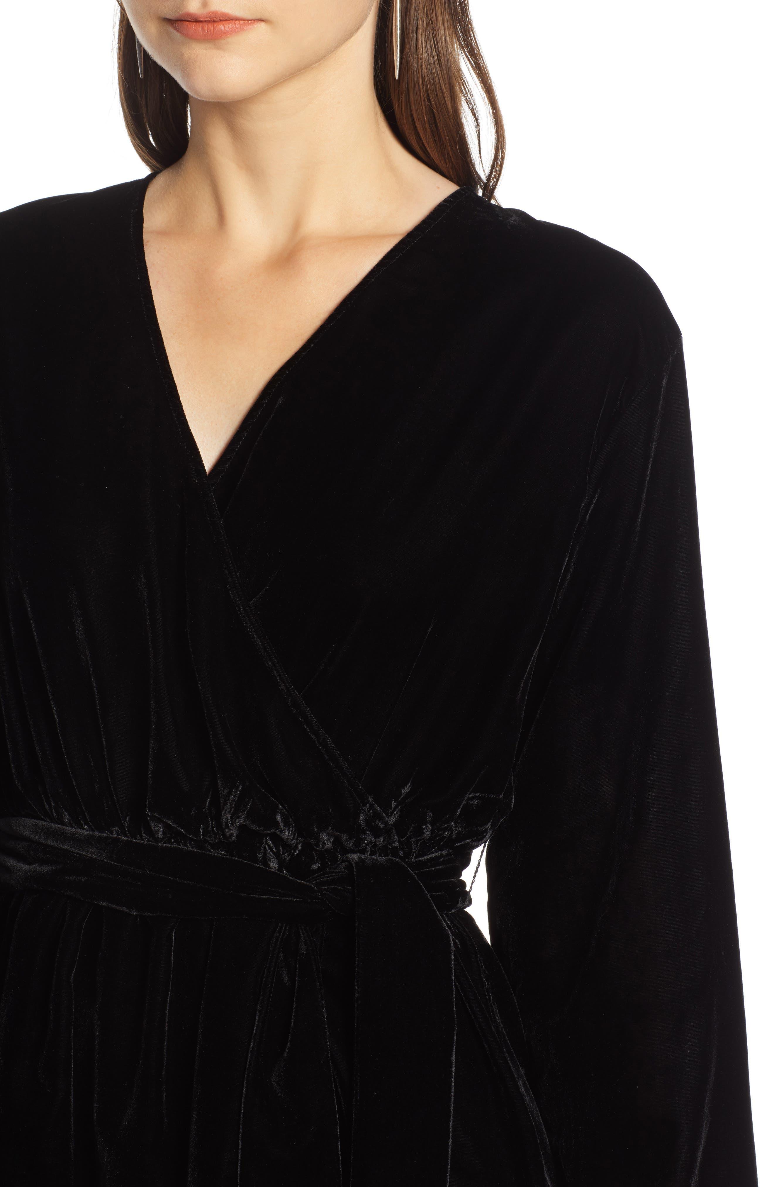 Velvet Faux Wrap Minidress,                             Alternate thumbnail 4, color,                             BLACK