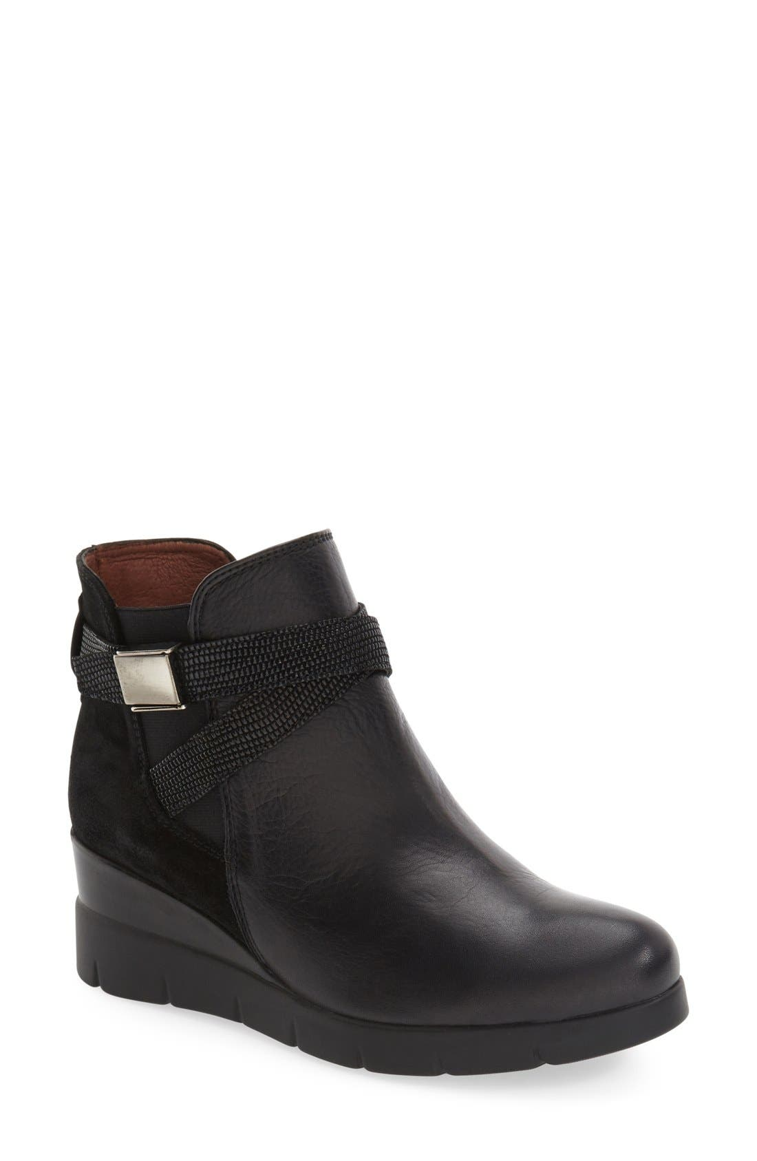 'Larae' Wedge Bootie,                             Main thumbnail 1, color,                             SOHO BLACK LEATHER