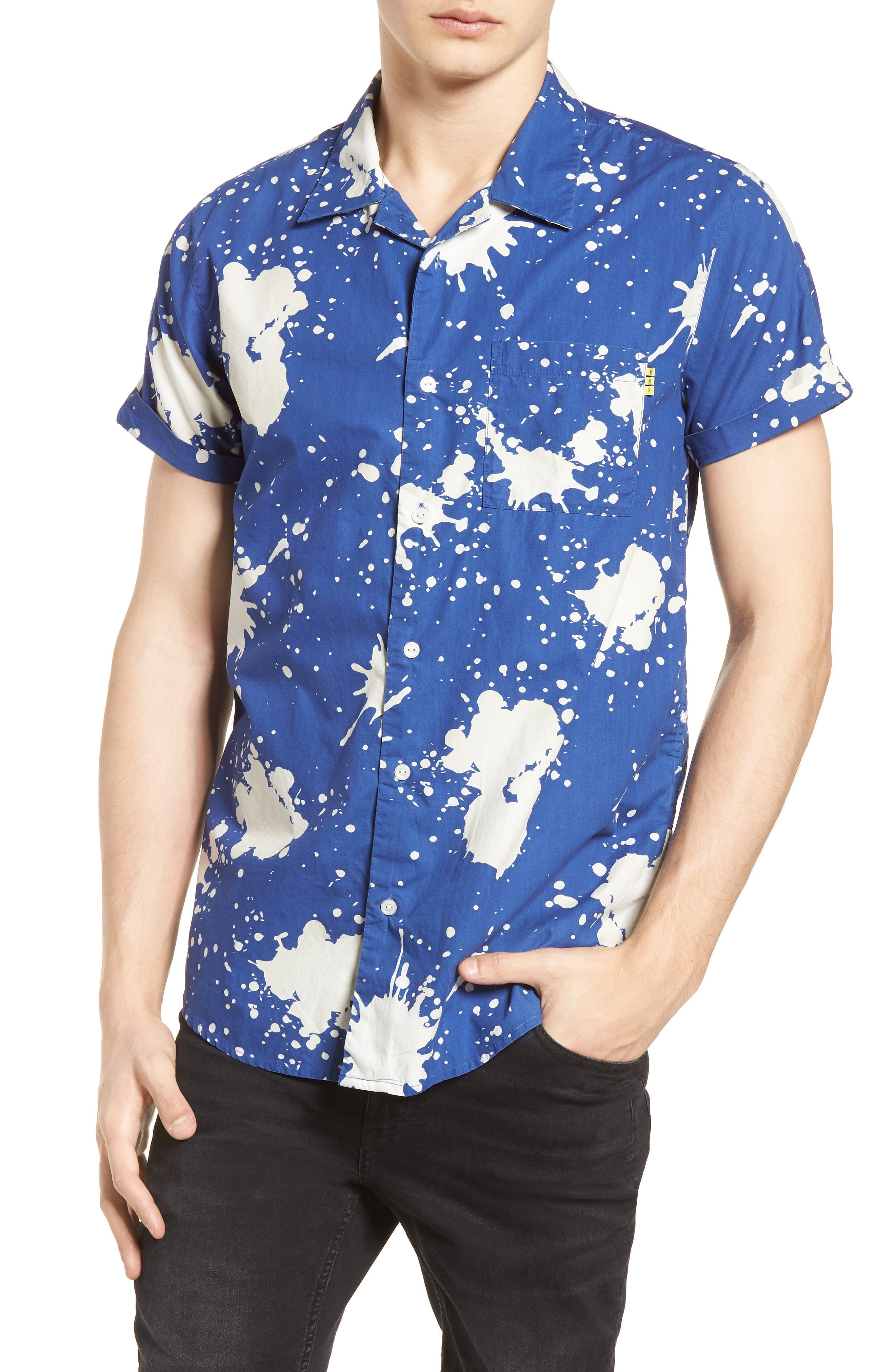 Amsterdams Blauw Allover Print Camp Shirt,                             Main thumbnail 1, color,                             BLUE