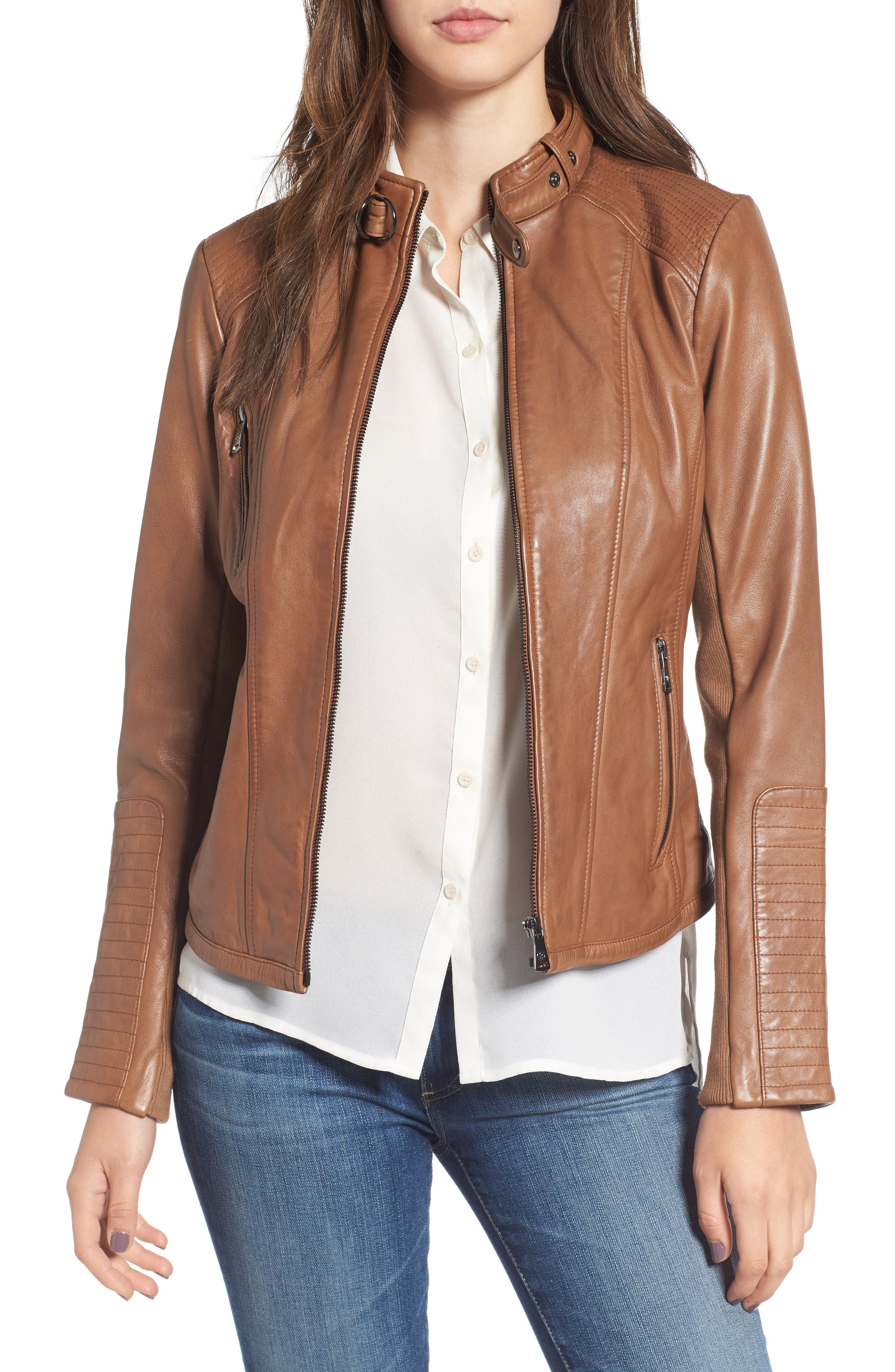 Zip Front Leather Biker Jacket,                             Main thumbnail 1, color,