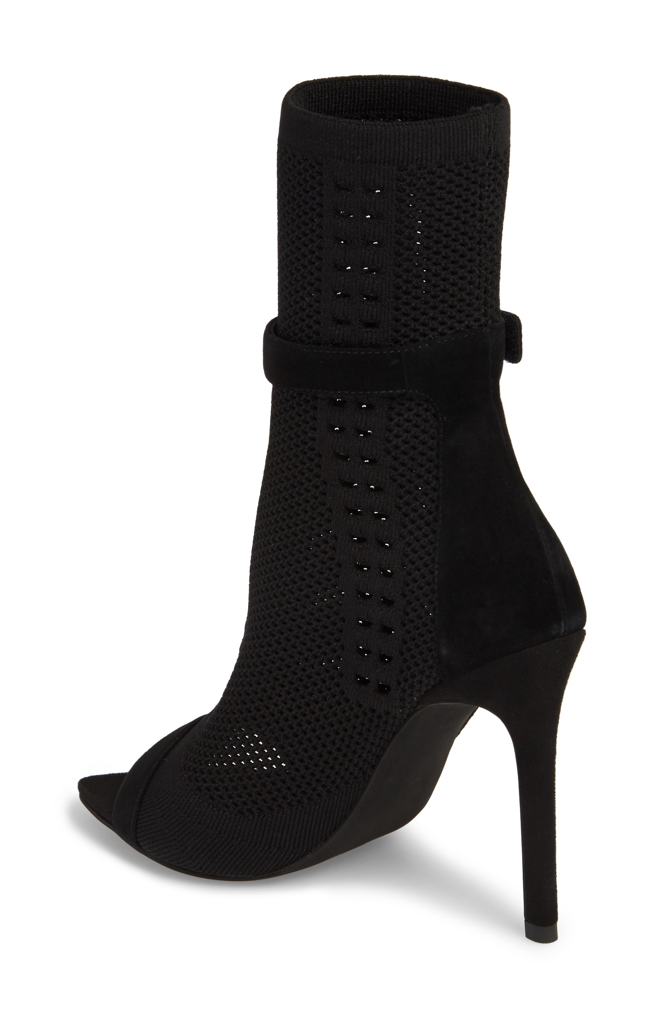 Kehlani Knit Bootie Sandal,                             Alternate thumbnail 2, color,                             BLACK SUEDE-BLACK WOVEN