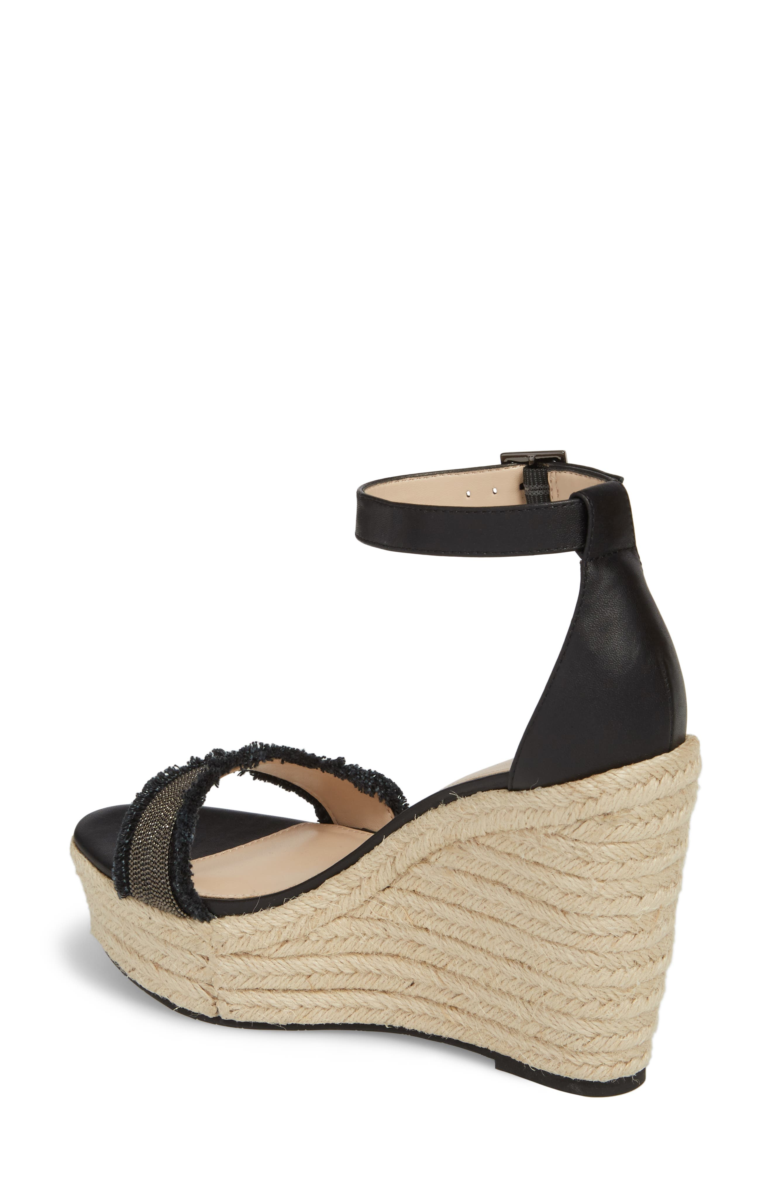 Radley Espadrille Wedge Sandal,                             Alternate thumbnail 2, color,                             BLACK LEATHER