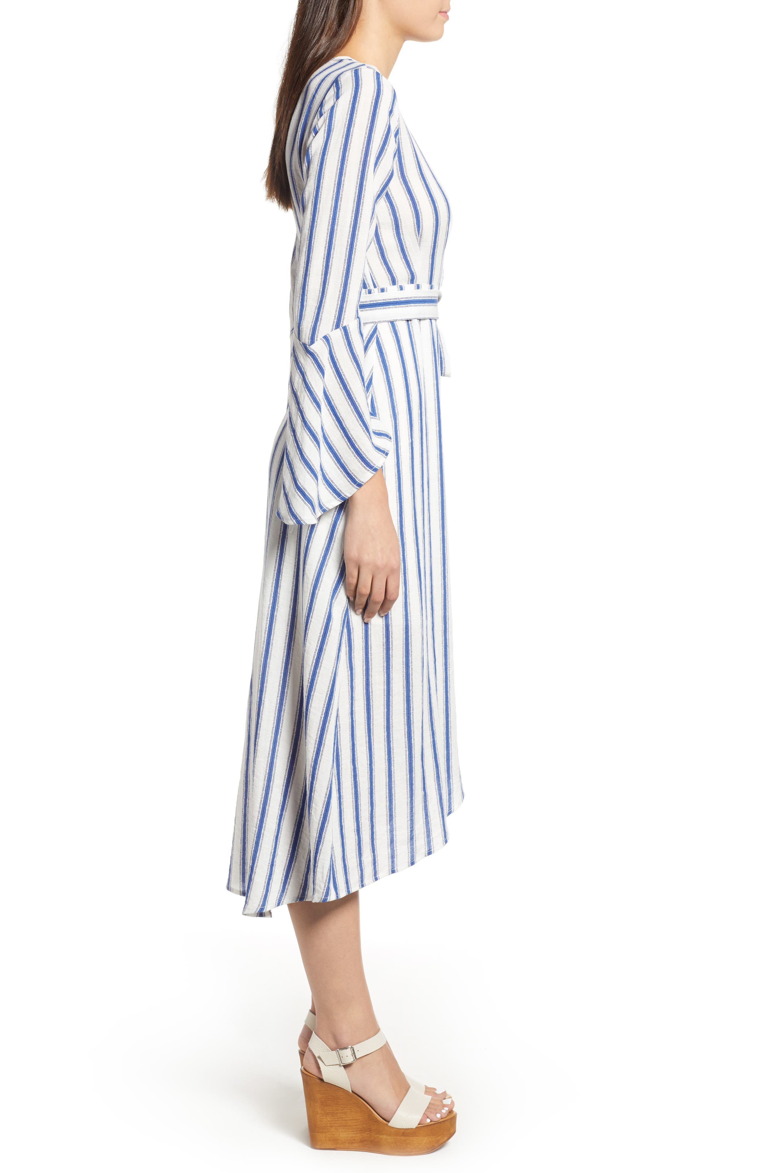 Stripe Flared Sleeve Wrap Dress,                             Alternate thumbnail 3, color,                             400