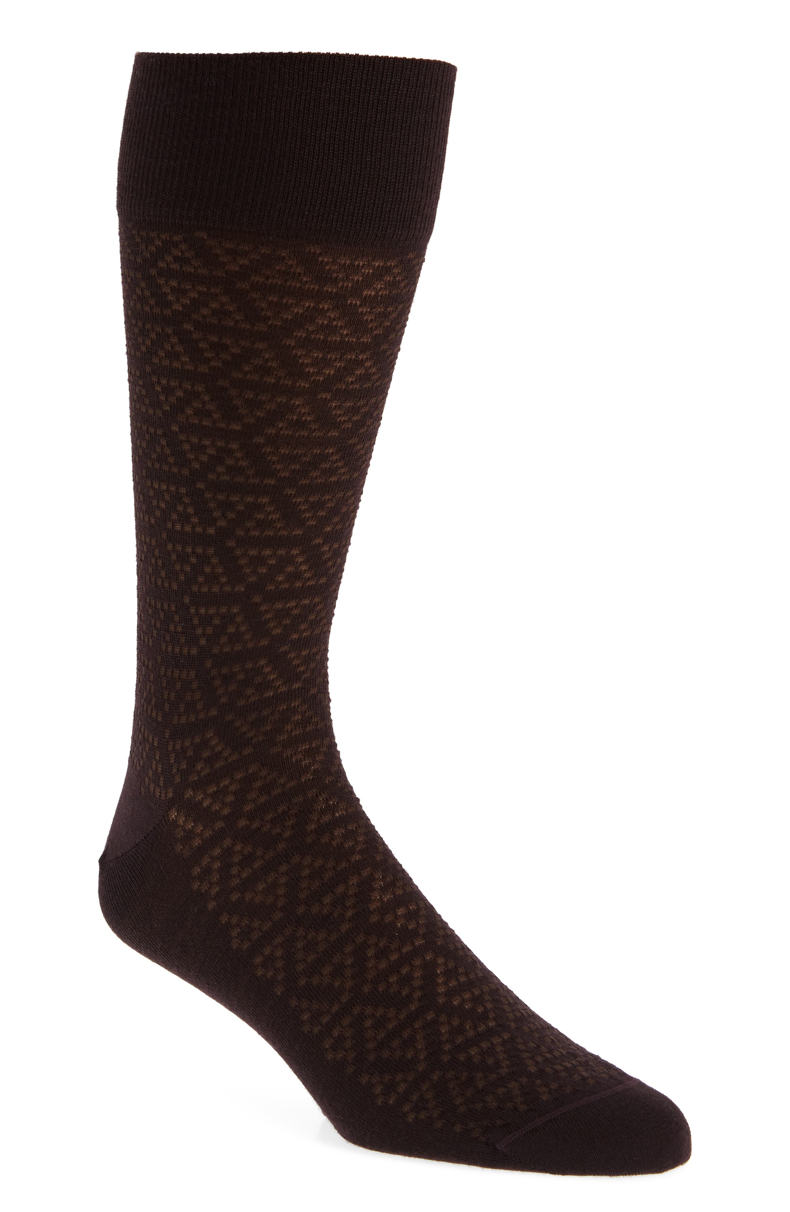 Pointed Triangle Socks,                         Main,                         color, BURGUNDY STEM