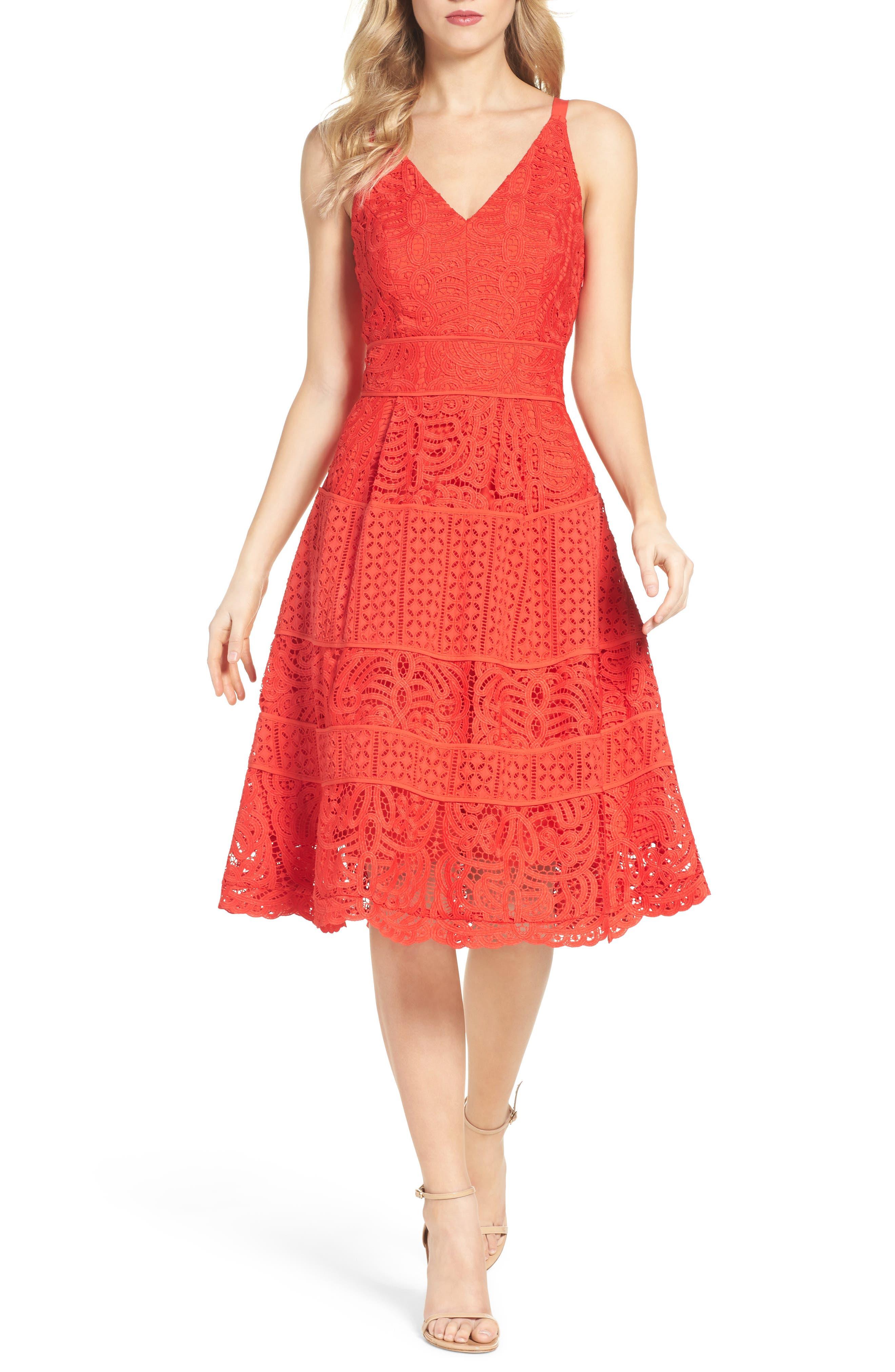 Fit & Flare Midi Dress,                             Main thumbnail 4, color,