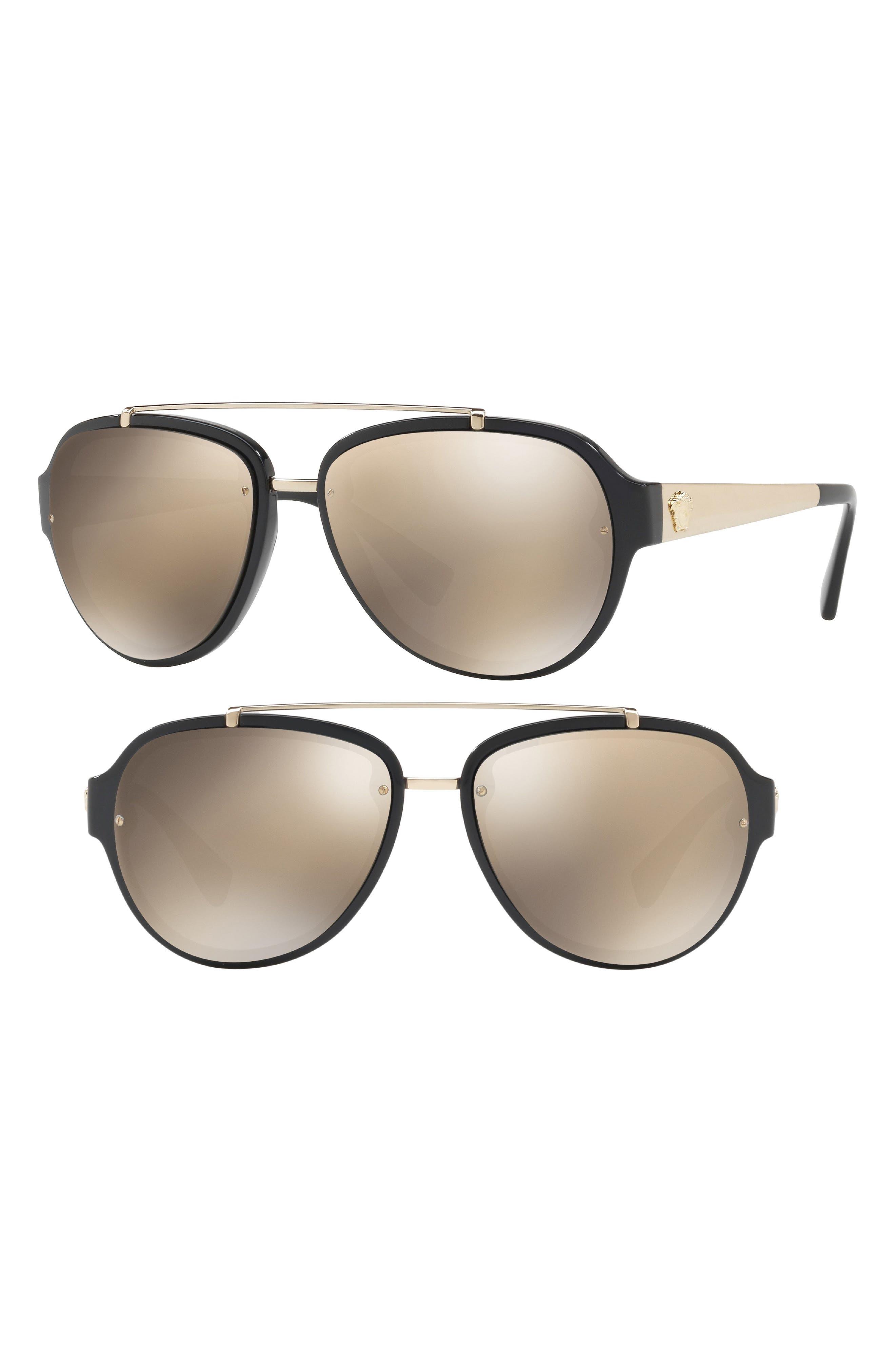 57mm Aviator Sunglasses,                             Main thumbnail 1, color,                             BLACK/ BROWN