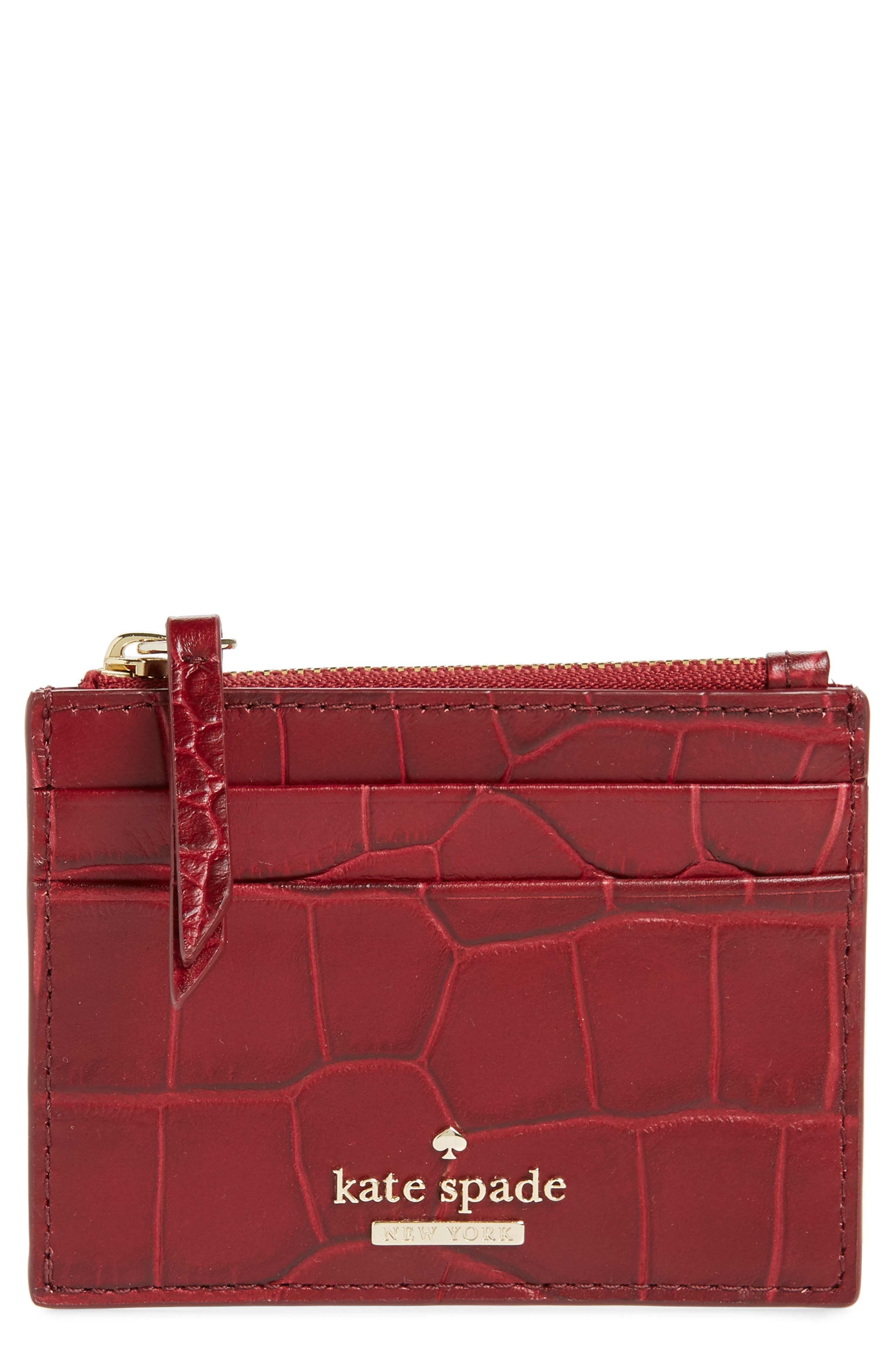 KATE SPADE NEW YORK murray street - lalena croc embossed leather card case, Main, color, 600