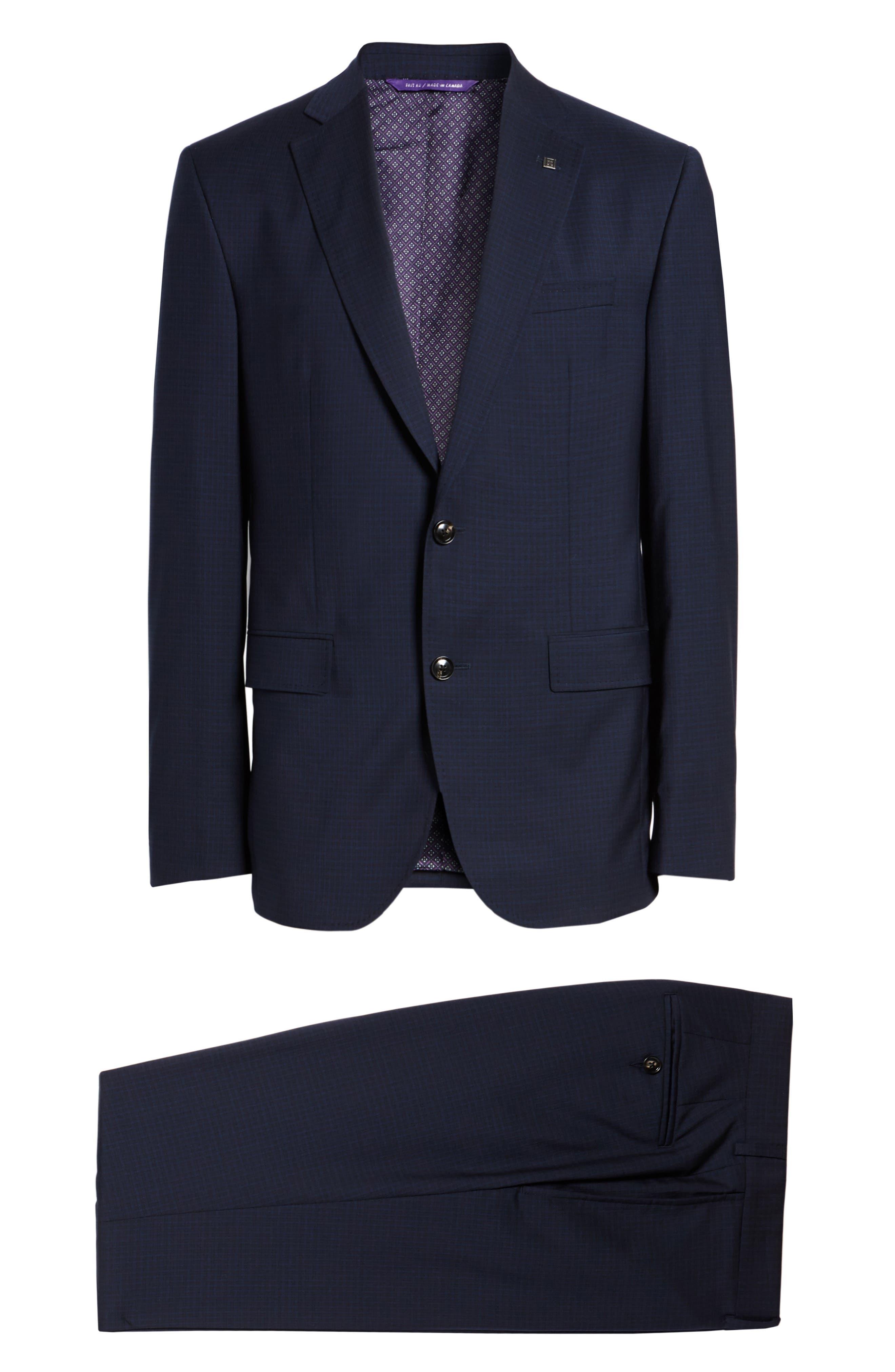 Roger Trim Fit Check Wool Suit,                             Alternate thumbnail 8, color,                             410