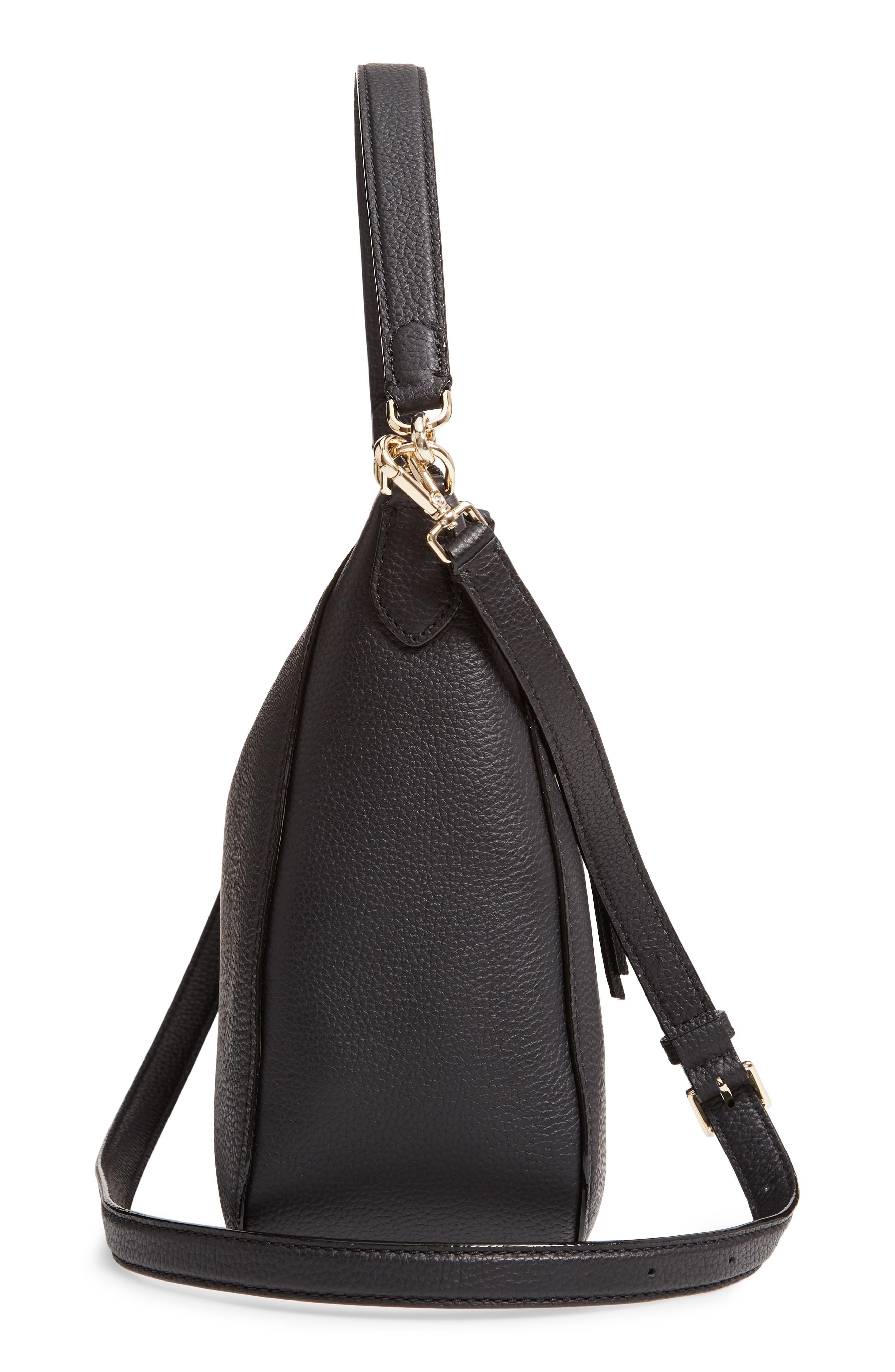 jackson street - quincy leather hobo,                             Alternate thumbnail 5, color,                             BLACK