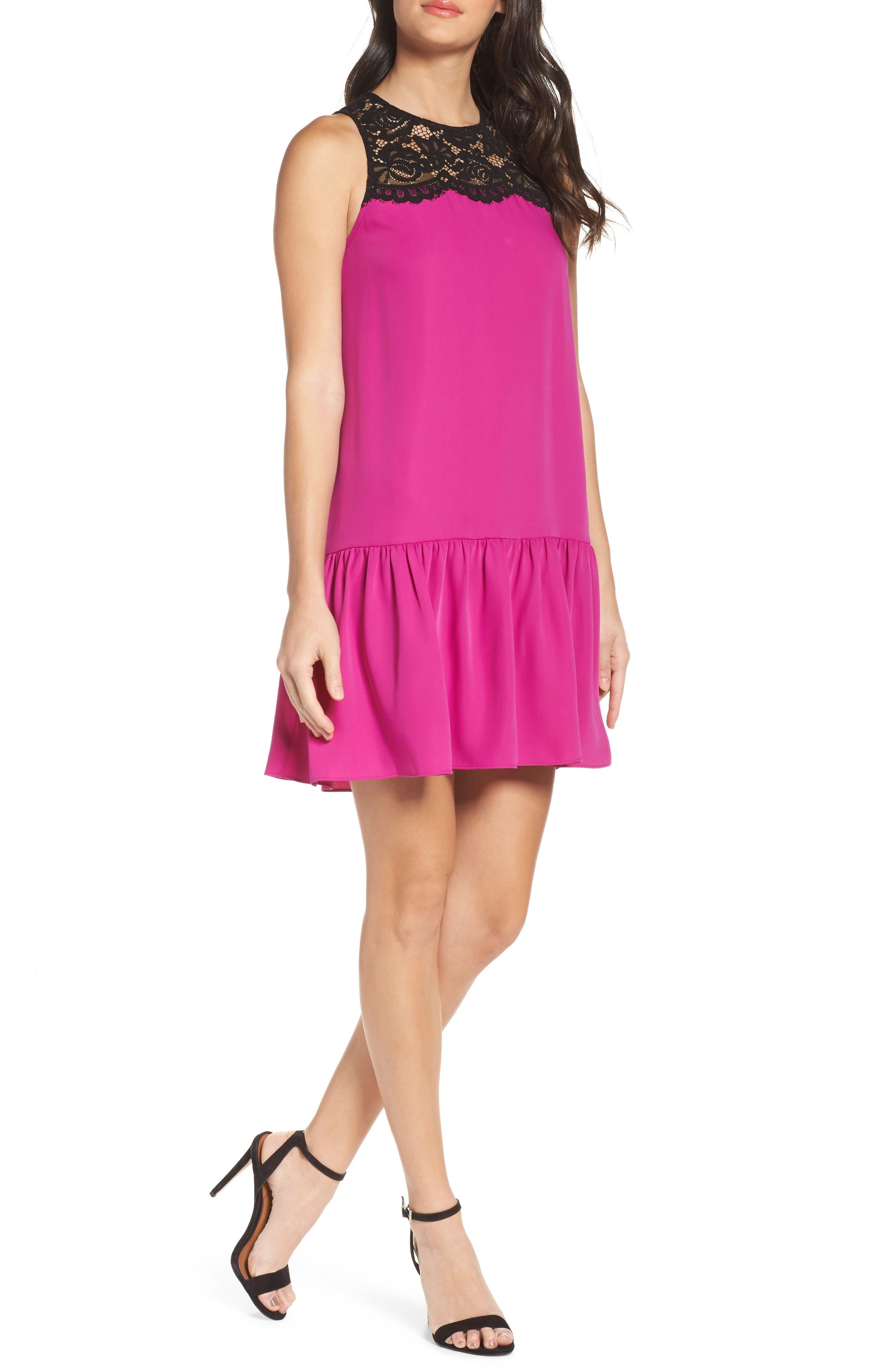 Lace & Crepe Shift Dress,                             Main thumbnail 2, color,