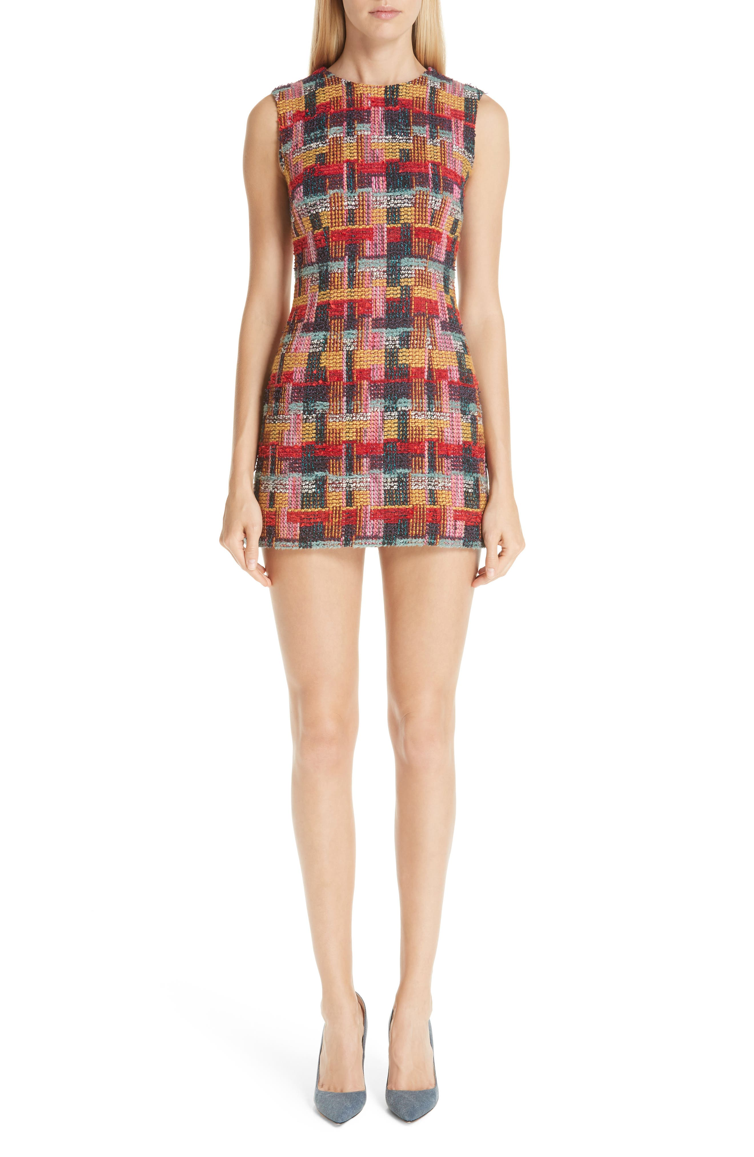 Multicolor Tweed Sheath Dress,                             Alternate thumbnail 6, color,                             RED