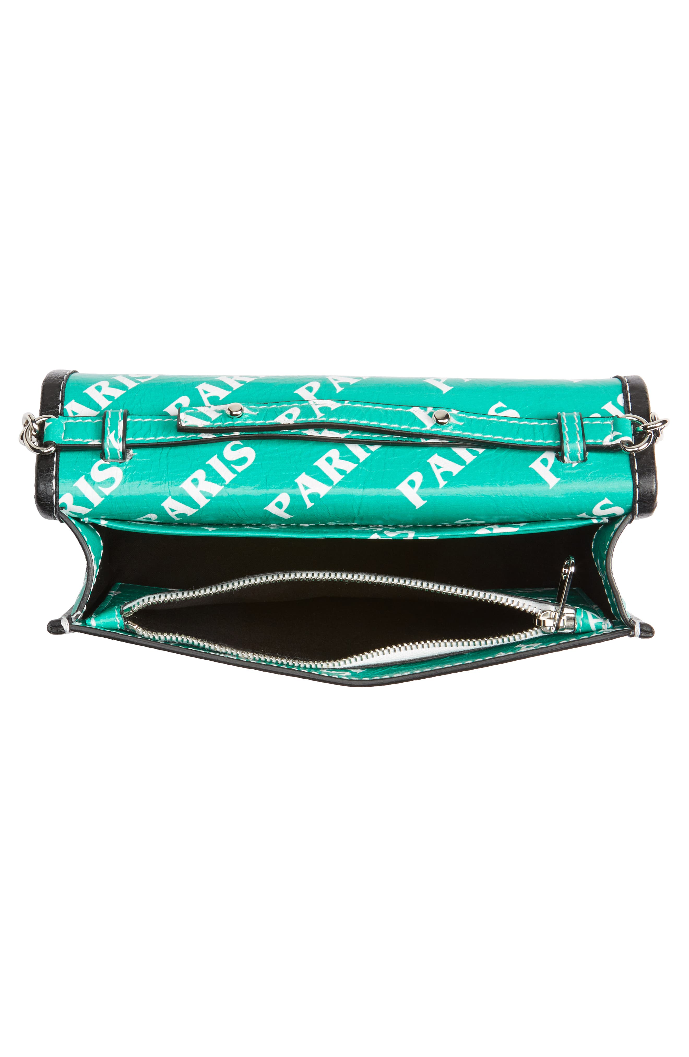 Bazar Printed Leather Wallet on a Chain,                             Alternate thumbnail 4, color,                             001