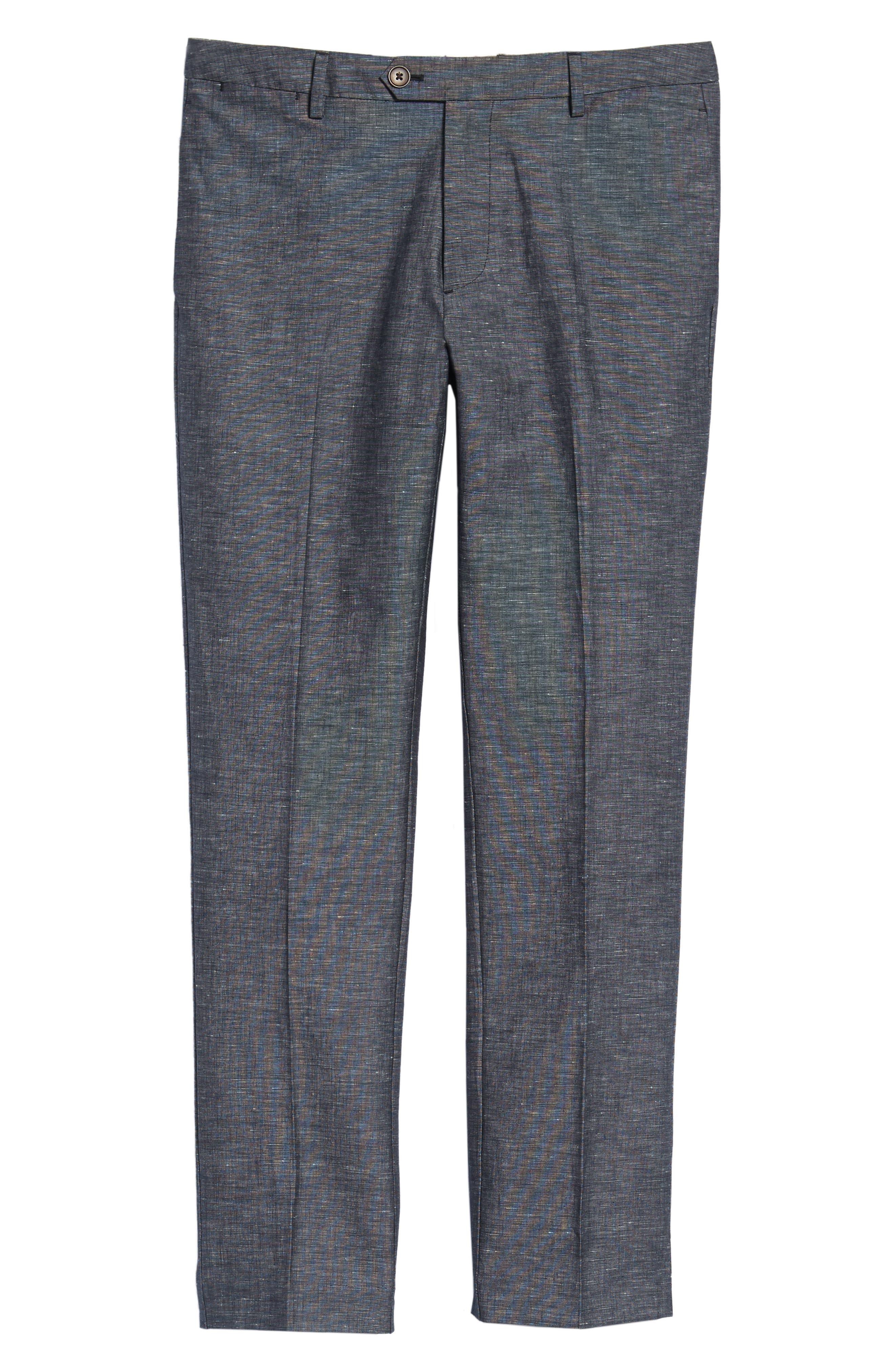 Flat Front Solid Stretch Cotton & Linen Pants,                             Alternate thumbnail 11, color,