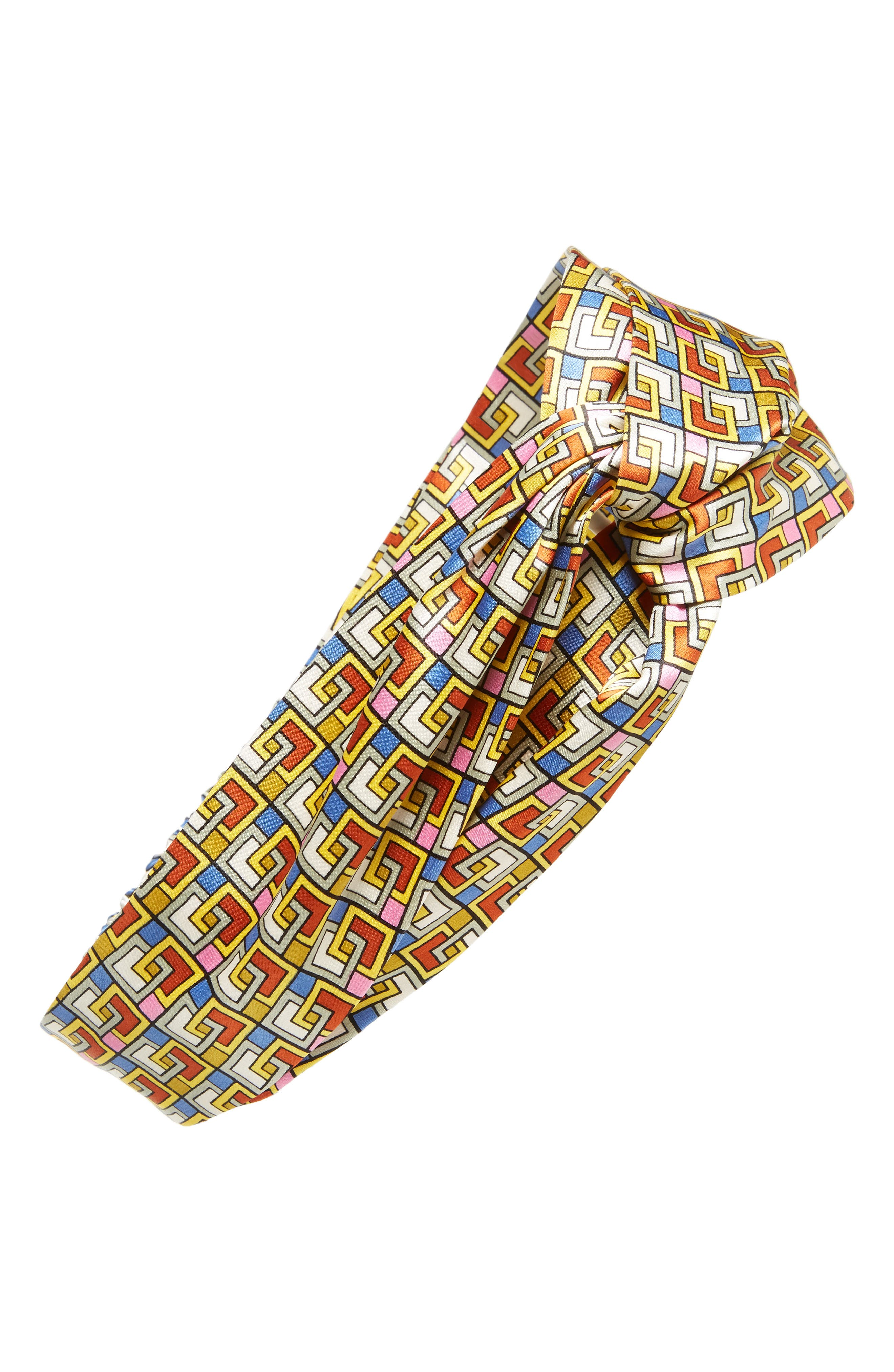 Picnic Box Silk Head Wrap,                         Main,                         color, NAVY PICNIC BOX