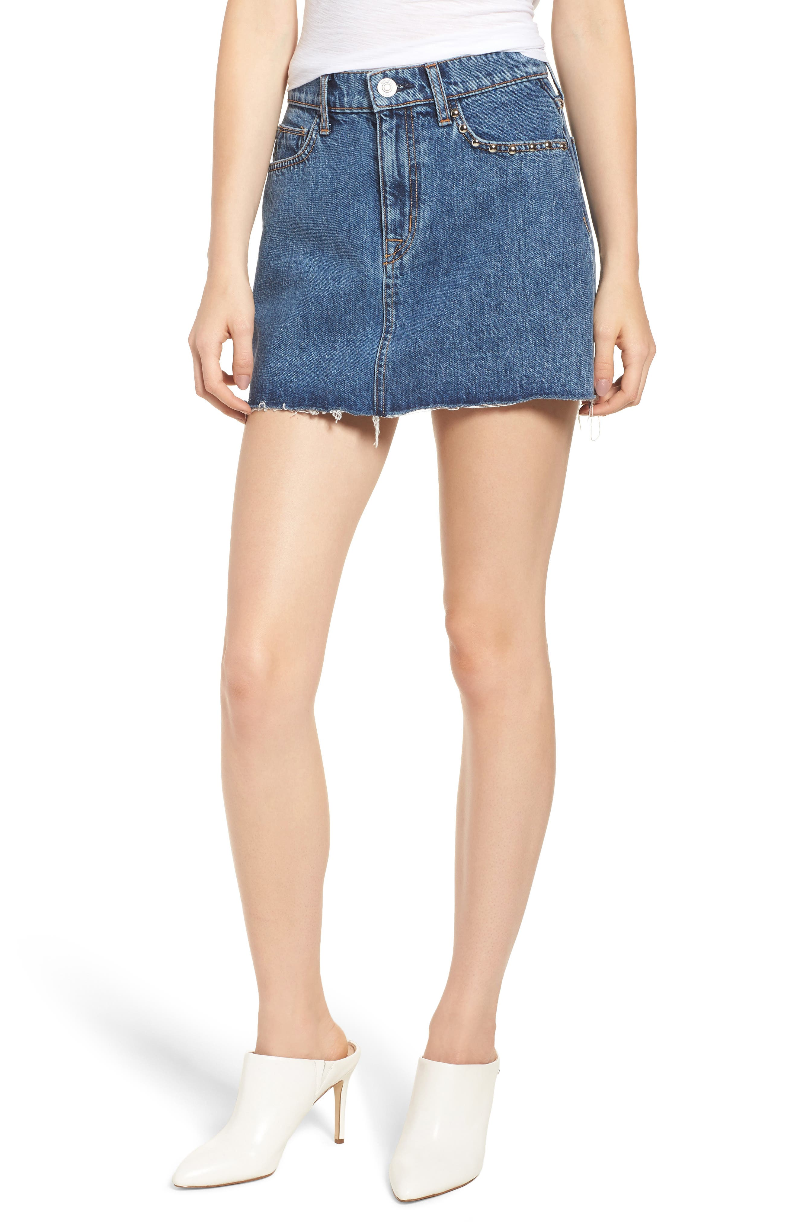 The Viper Cutoff Denim Miniskirt,                             Main thumbnail 1, color,                             422