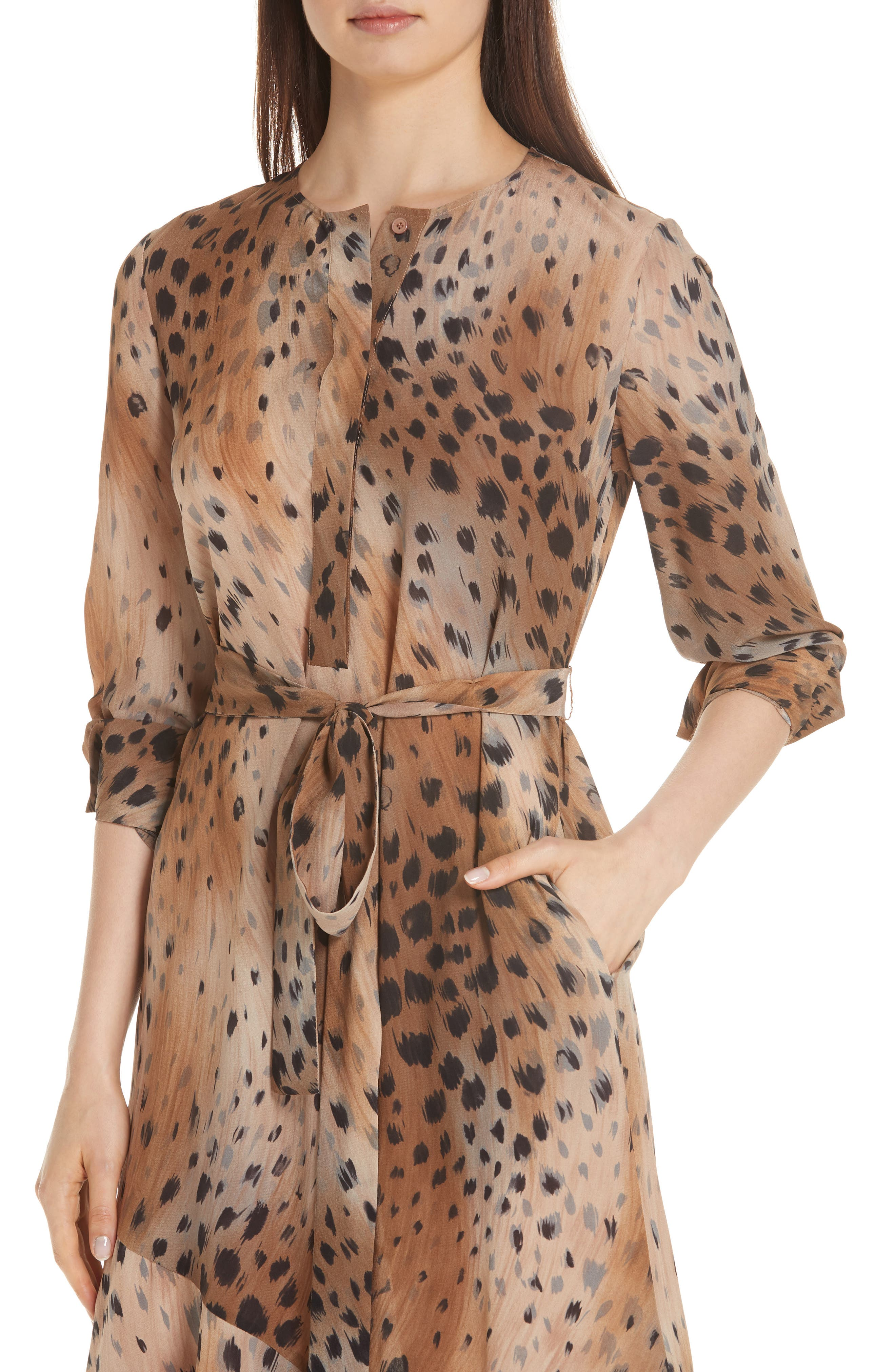 Delancy Silk Dress,                             Alternate thumbnail 4, color,                             SADDLE MULTI