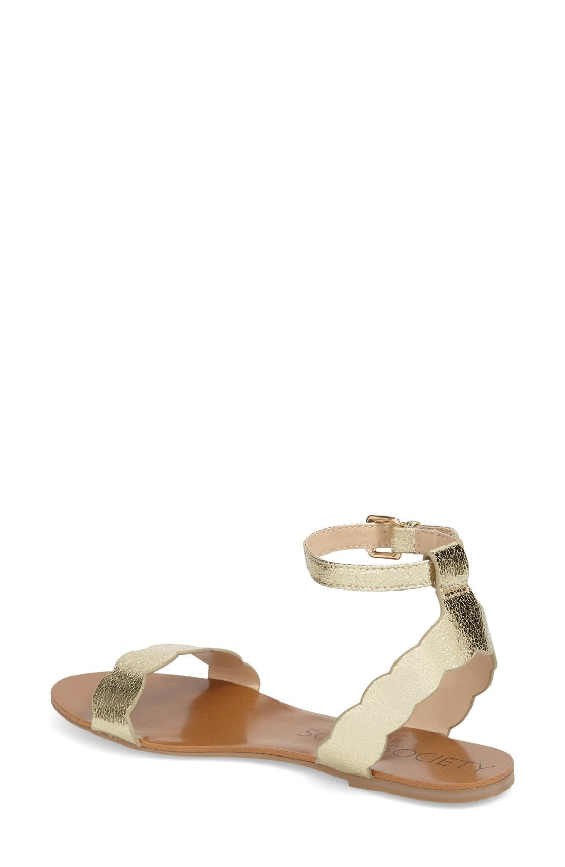 'Odette' Scalloped Ankle Strap Flat Sandal,                             Alternate thumbnail 14, color,