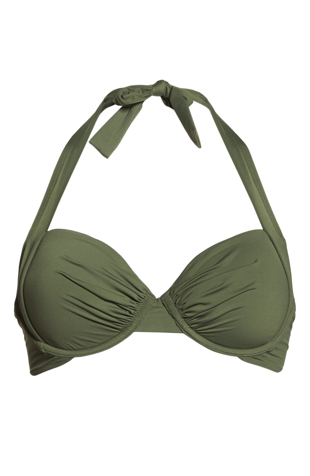 Underwire Halter Bikini Top,                             Alternate thumbnail 6, color,                             DARK TEA LEAF
