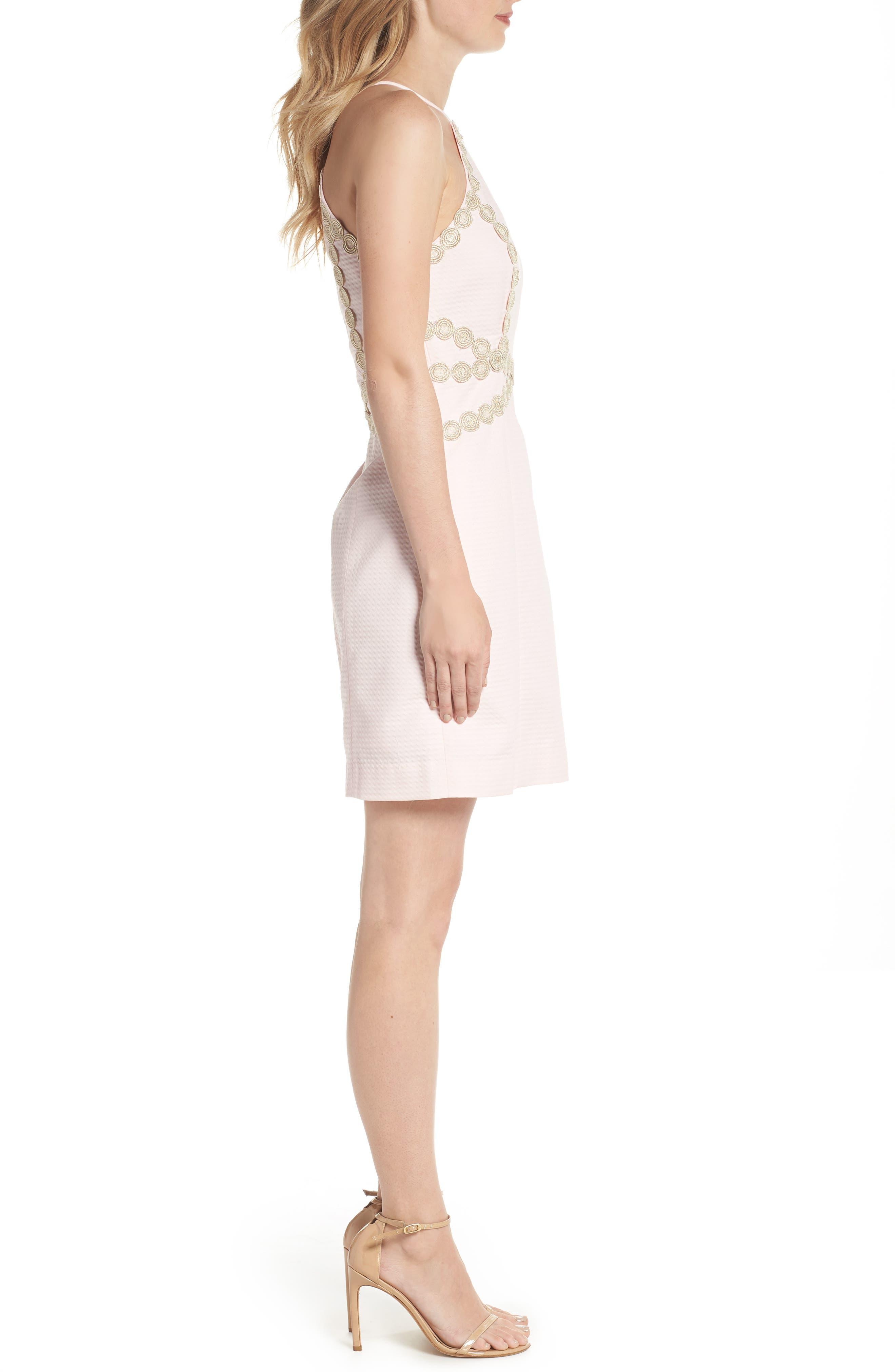 Pearl Shift Dress,                             Alternate thumbnail 3, color,                             PARADISE TINT