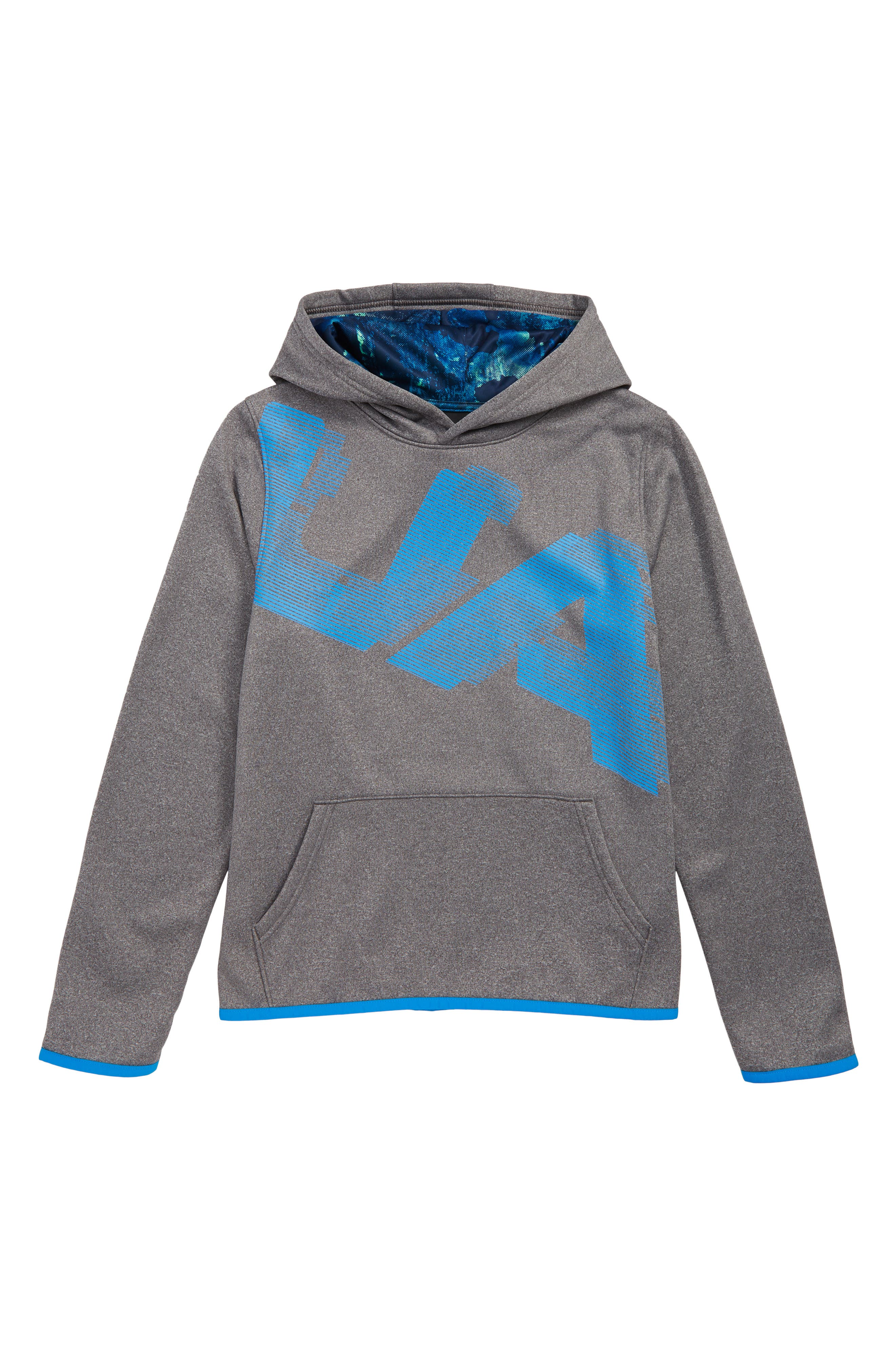 Armour Fleece<sup>®</sup> Logo Graphic Hoodie,                             Main thumbnail 1, color,                             LIGHT HEATHER/ BLUE CIRCUIT
