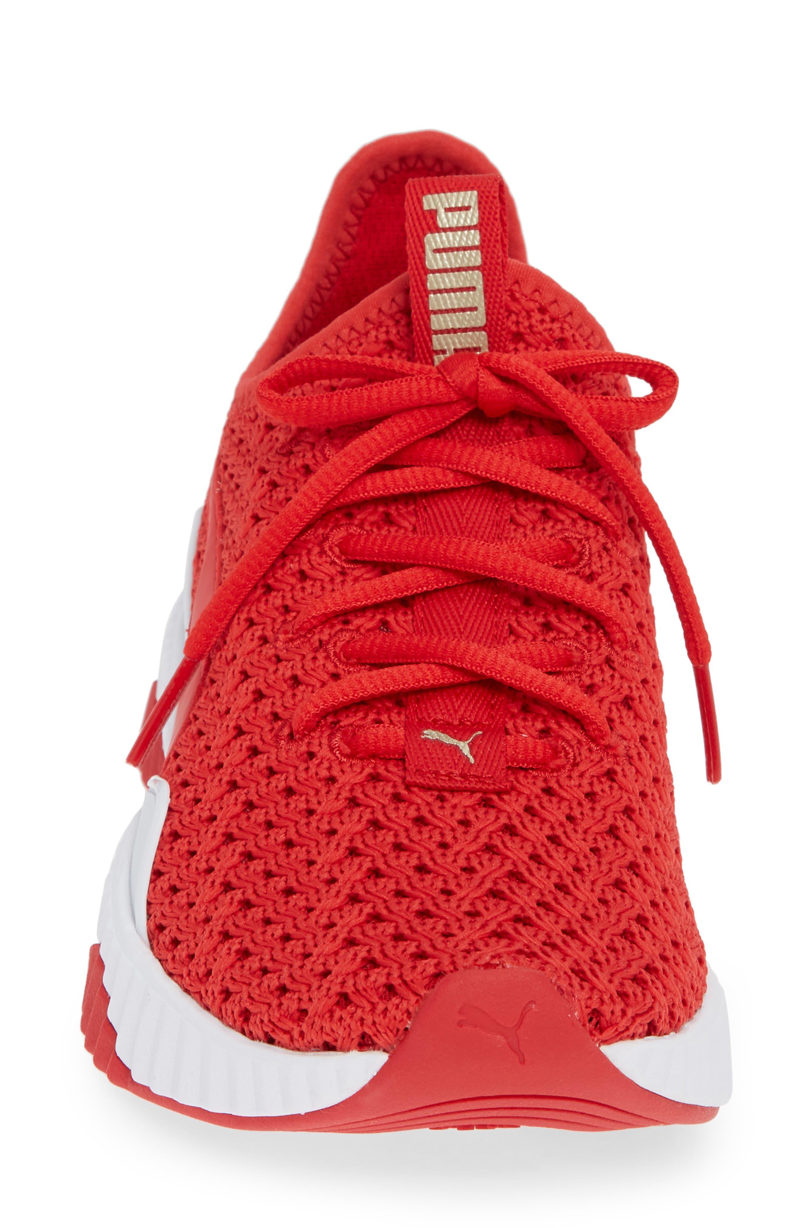 Defy Varsity Sneaker,                             Alternate thumbnail 4, color,                             RIBBON RED/ METALLIC GOLD