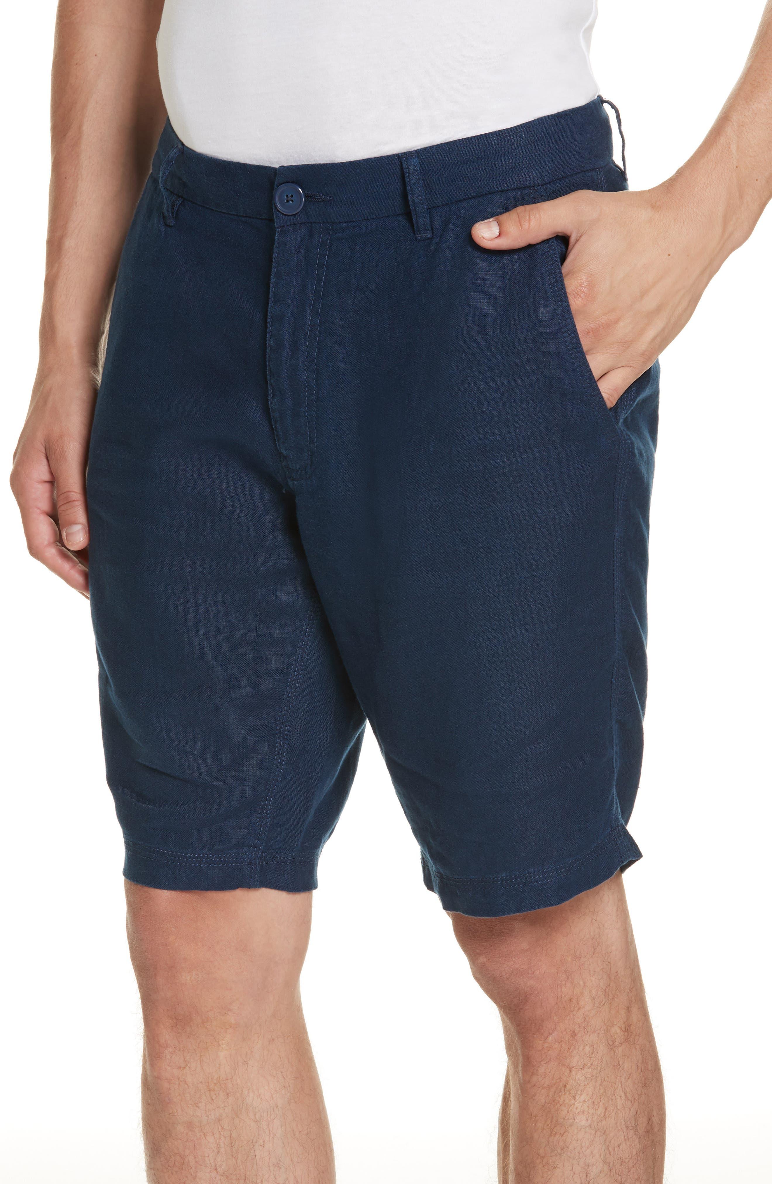 Austin Linen Shorts,                             Alternate thumbnail 4, color,                             DEEP NAVY