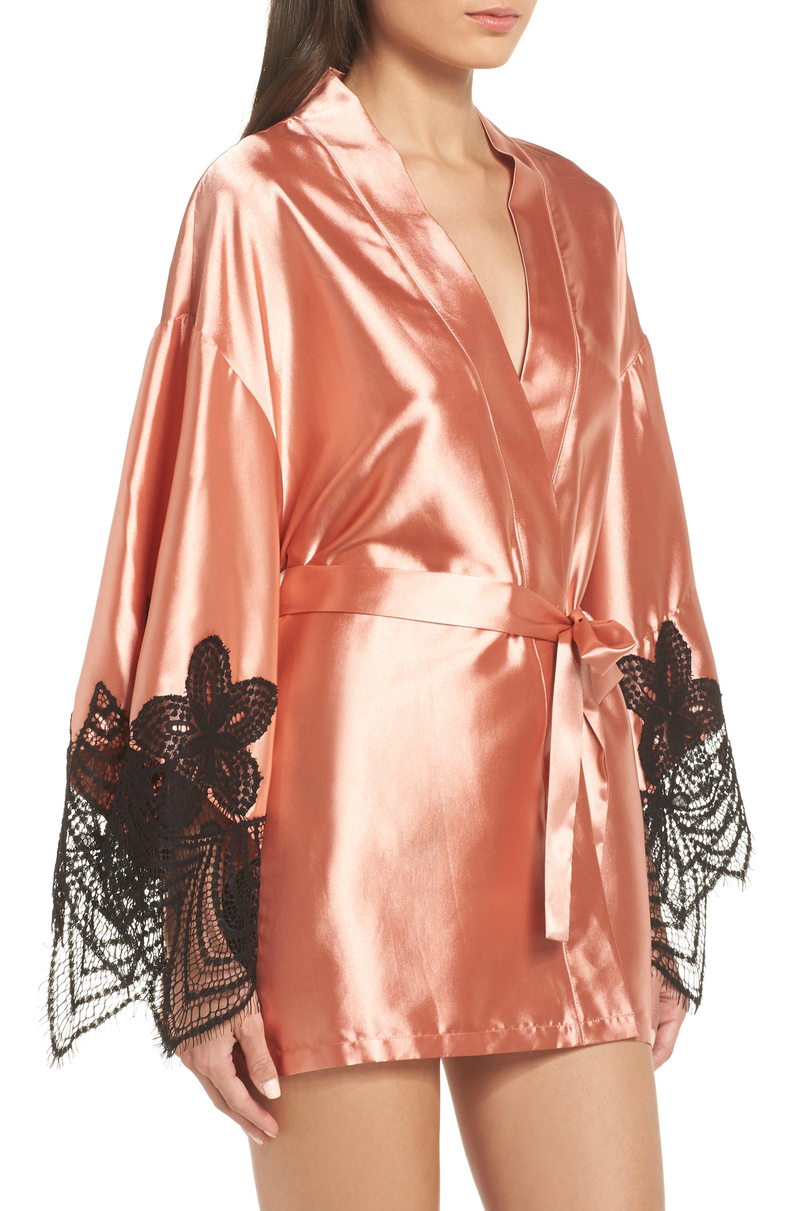 Drama Lace Trim Satin Robe,                             Alternate thumbnail 3, color,                             CAMEO BROWN/ BLACK