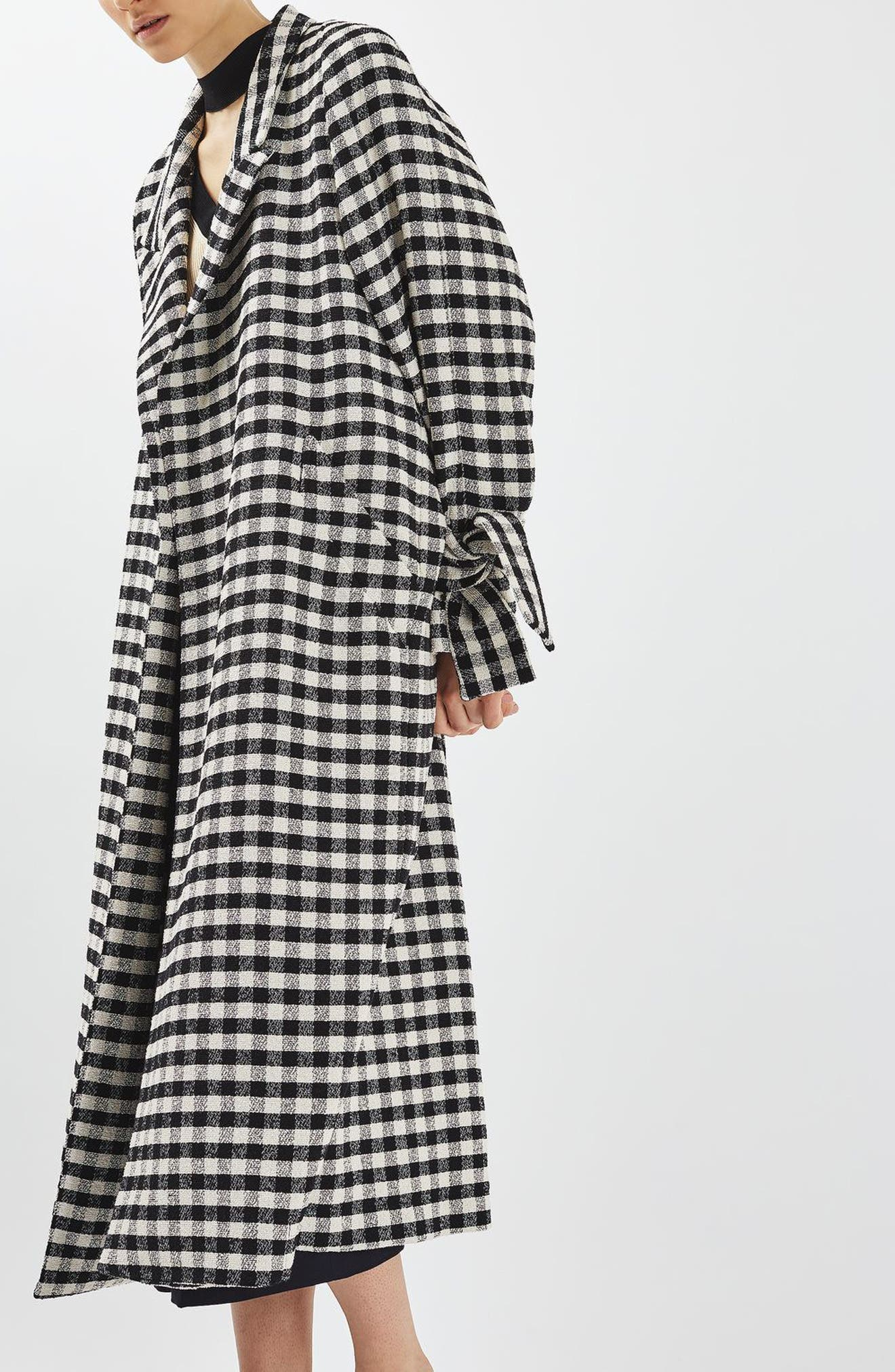 Gingham Duster Coat,                             Alternate thumbnail 5, color,                             001