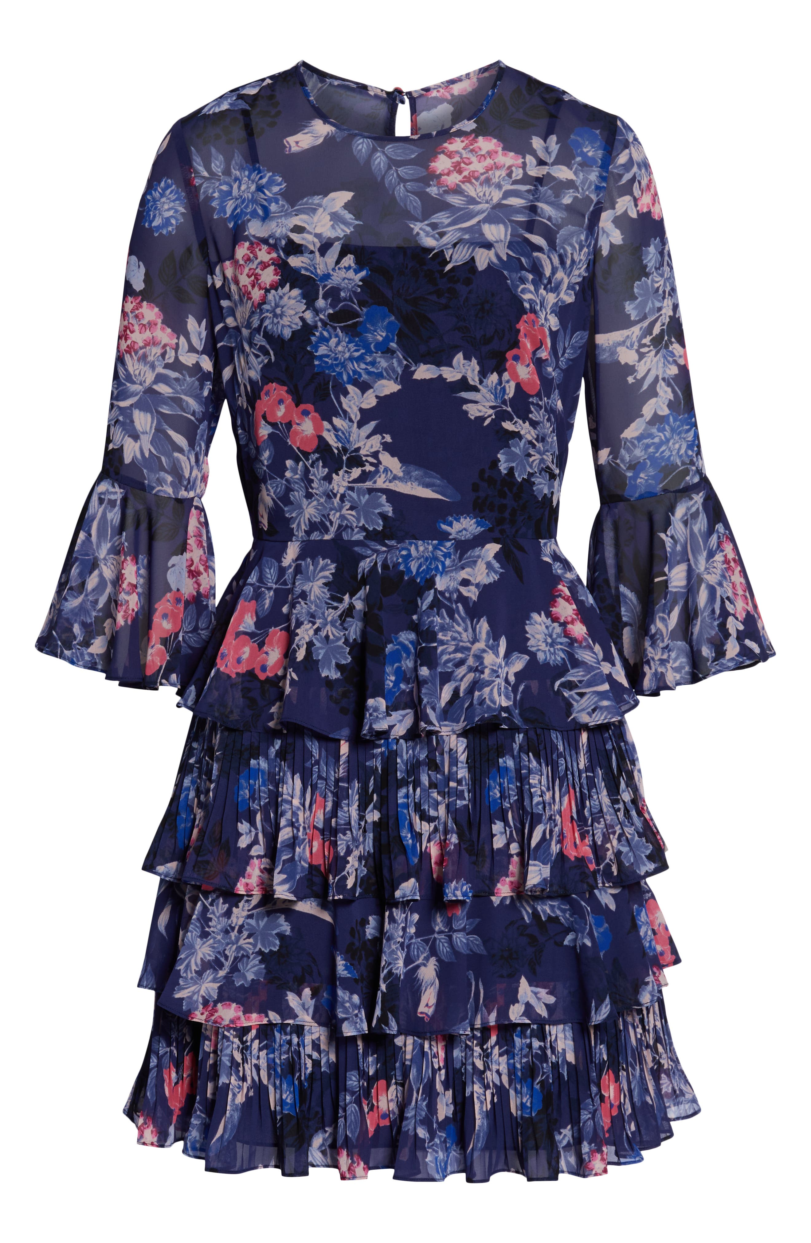 Bell Sleeve Tiered Minidress,                             Alternate thumbnail 7, color,                             NAVY