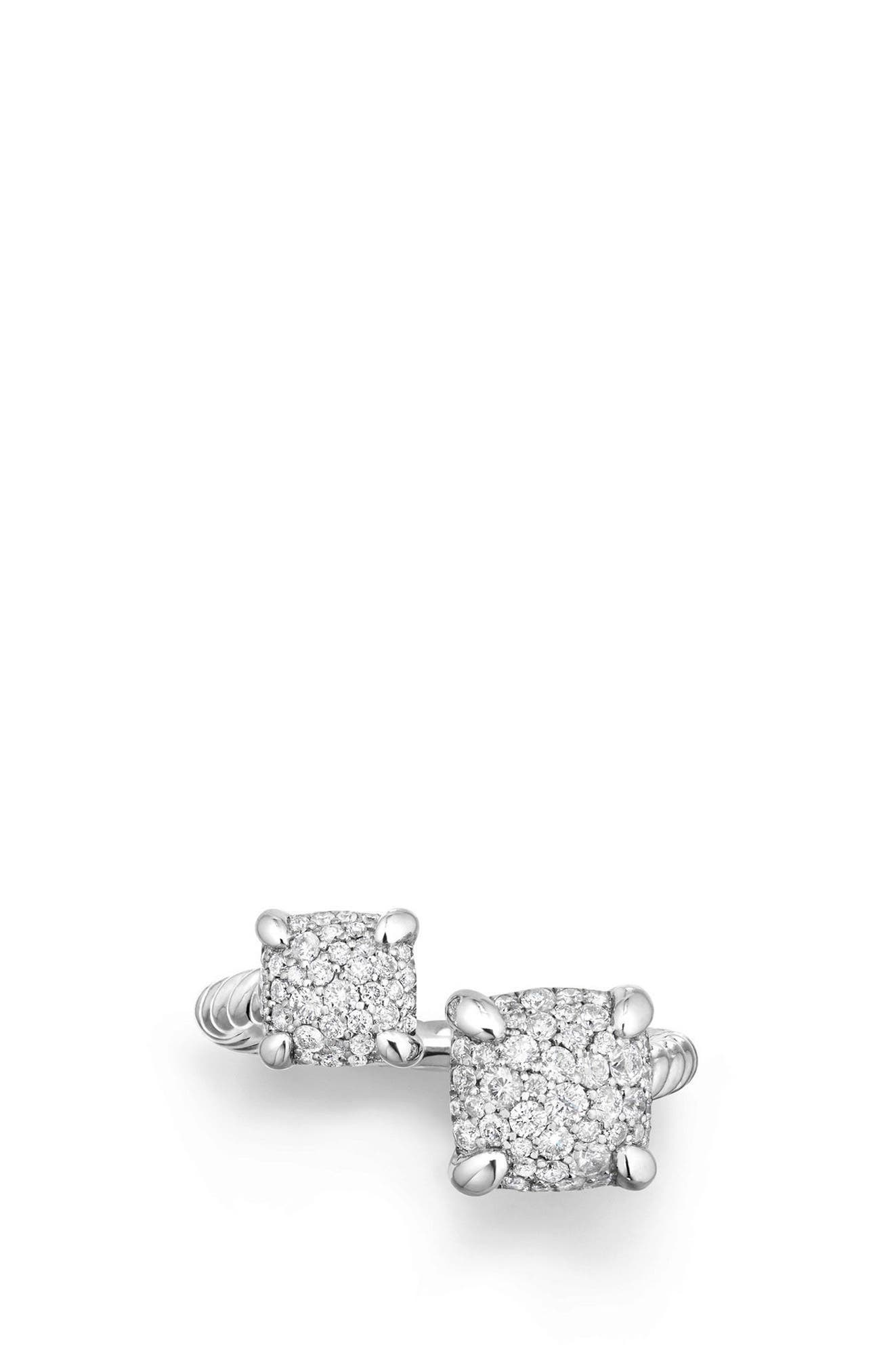 Châtelaine Bypass Ring with Diamonds,                             Alternate thumbnail 3, color,                             SILVER
