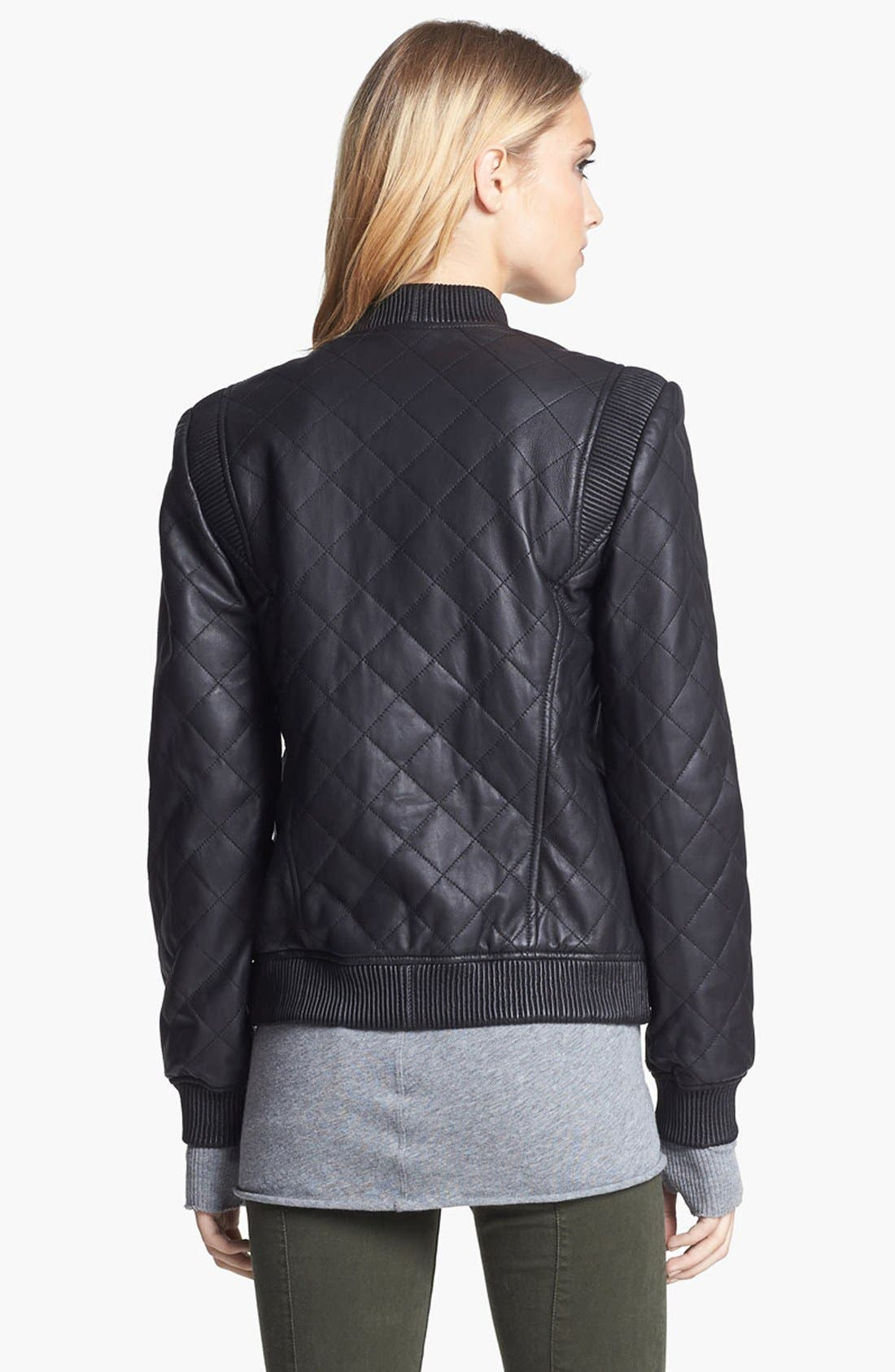 Quilted Leather Bomber Jacket,                             Alternate thumbnail 3, color,                             001