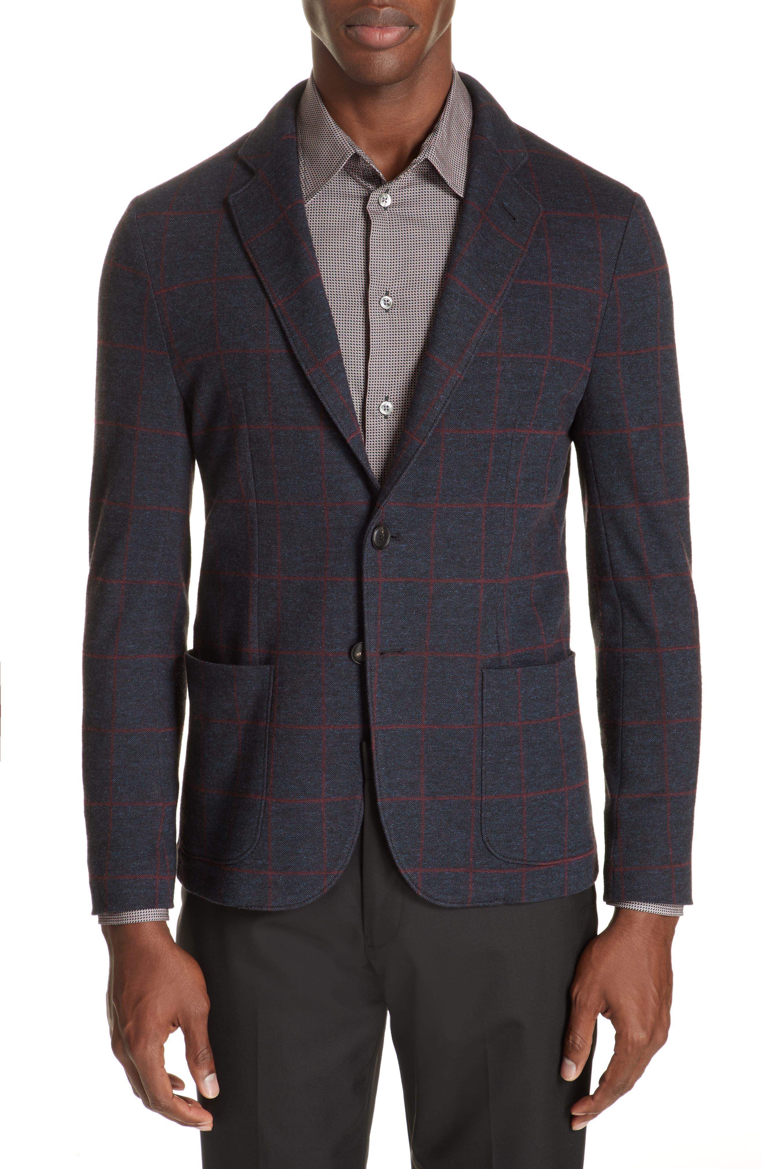 EMPORIO ARMANI Men'S Windowpane Jacquard Soft Blazer Jacket in Blue Multi