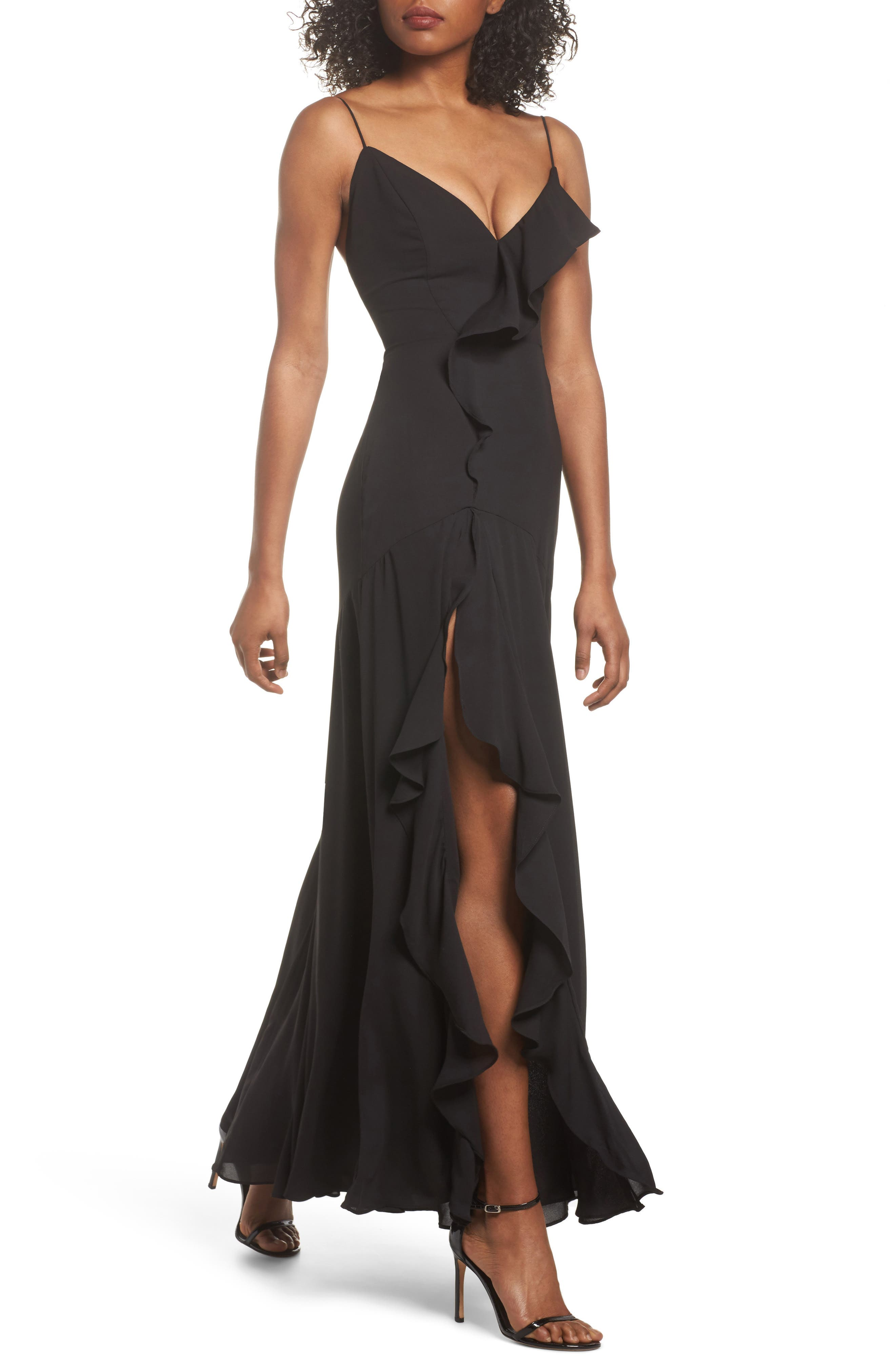 Callais Ruffle Gown,                             Main thumbnail 1, color,                             001