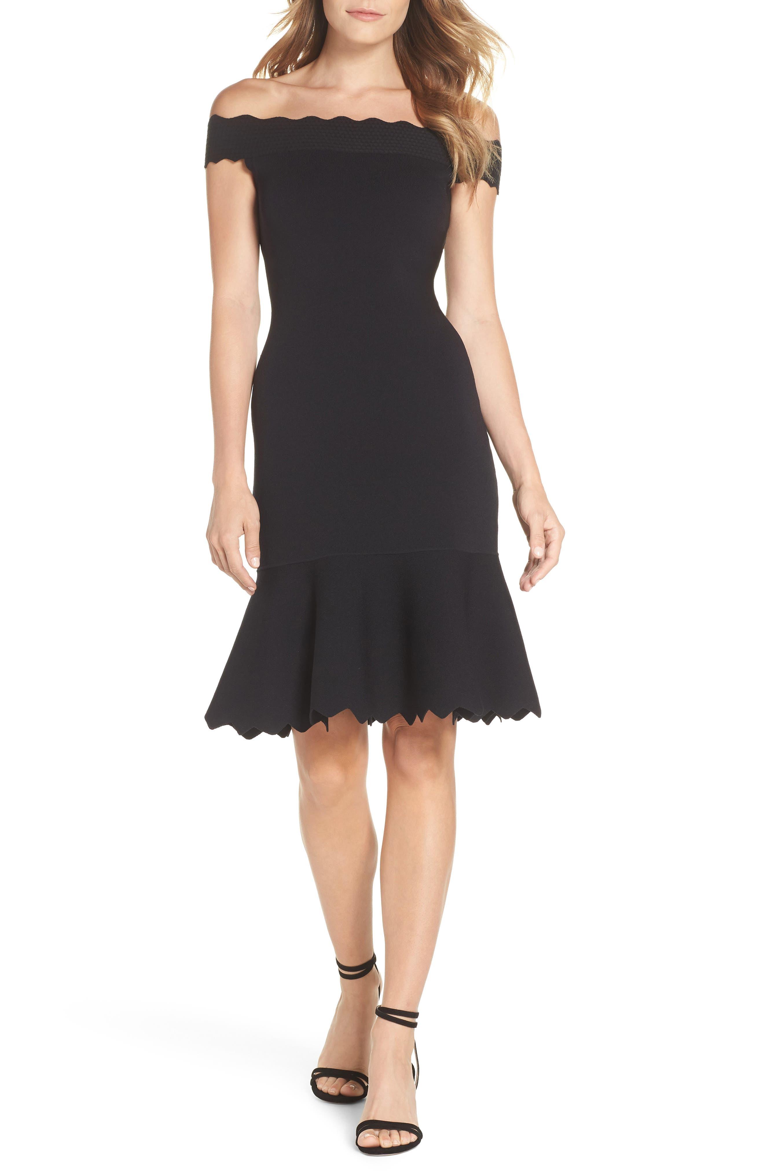 Off the Shoulder Flounce Hem Sweater Dress,                         Main,                         color, 001