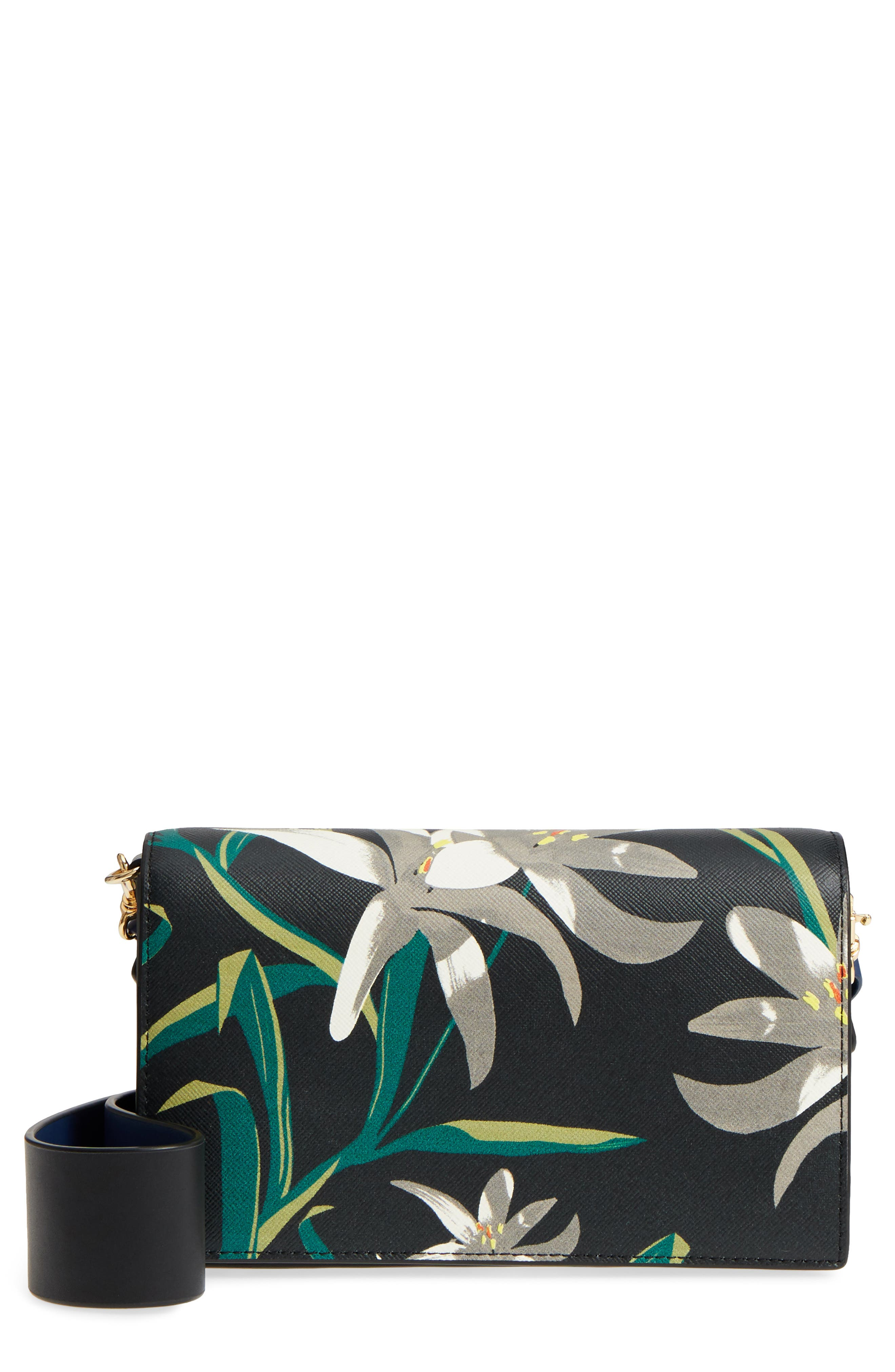 Soirée Leather Convertible Crossbody Bag,                         Main,                         color, 001