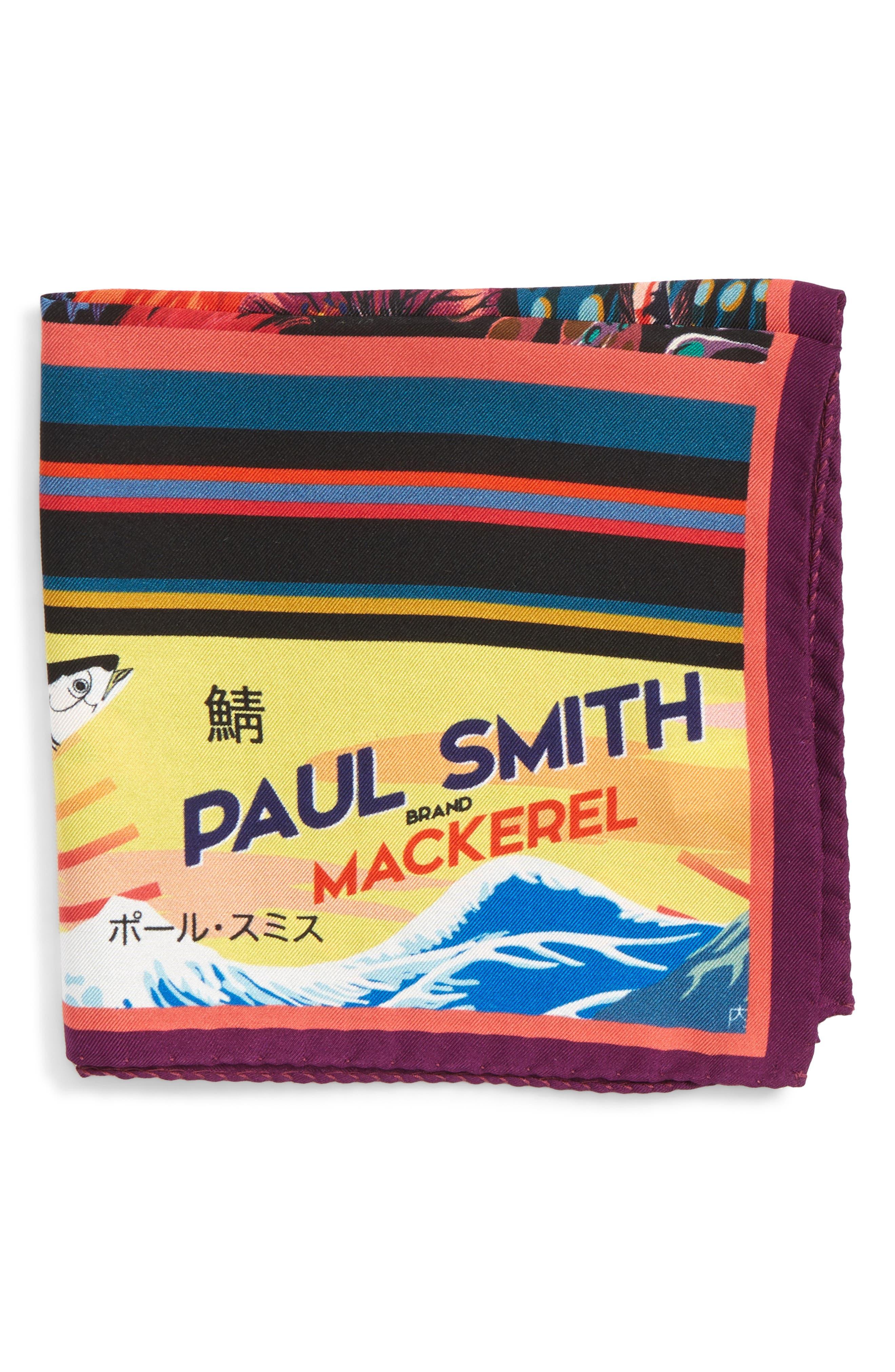 Hawaiian Print Silk Pocket Square,                             Main thumbnail 1, color,                             001