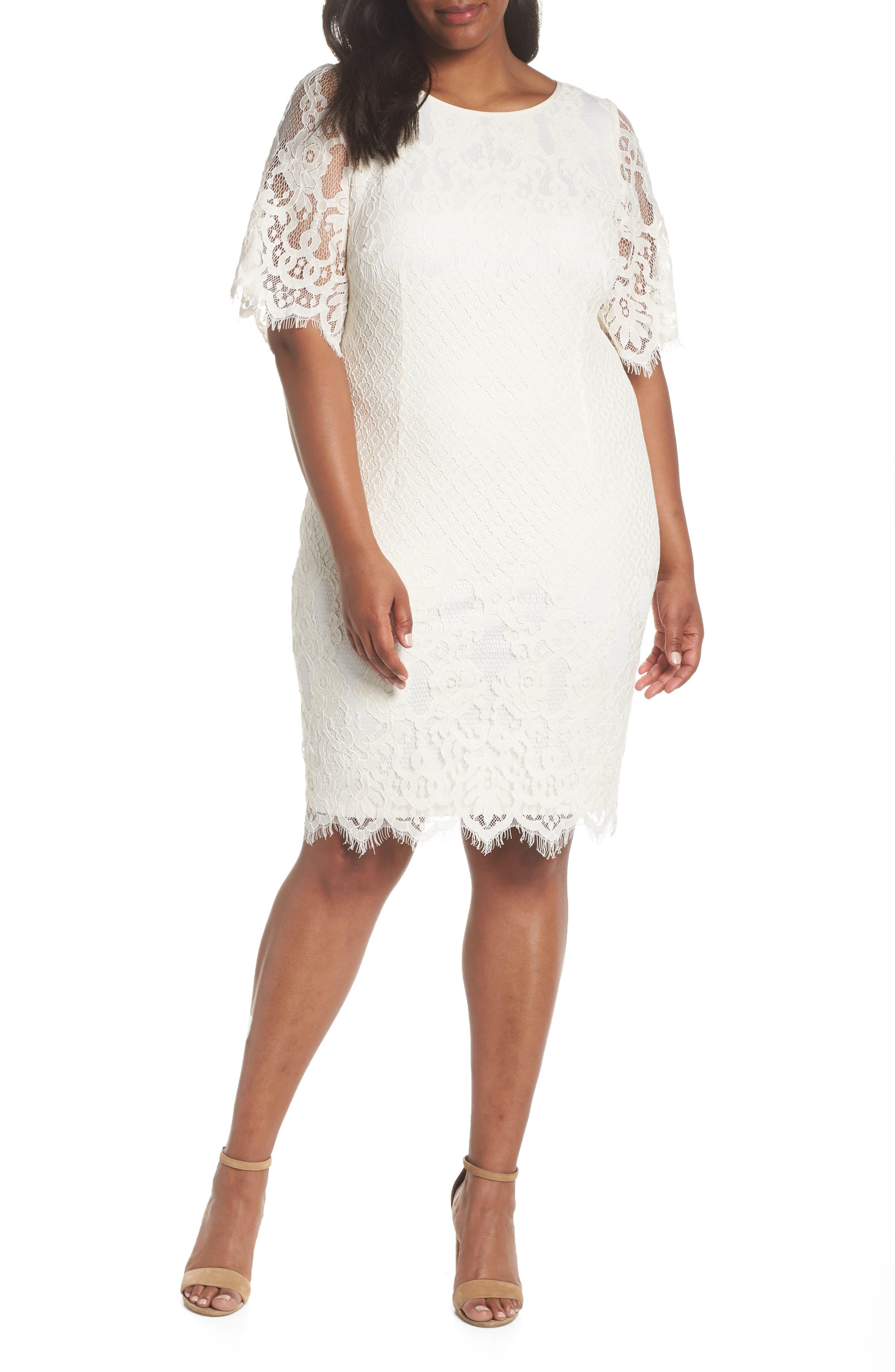Plus Size Adrianna Papell Georgia Scalloped Lace Sheath Dress, Ivory