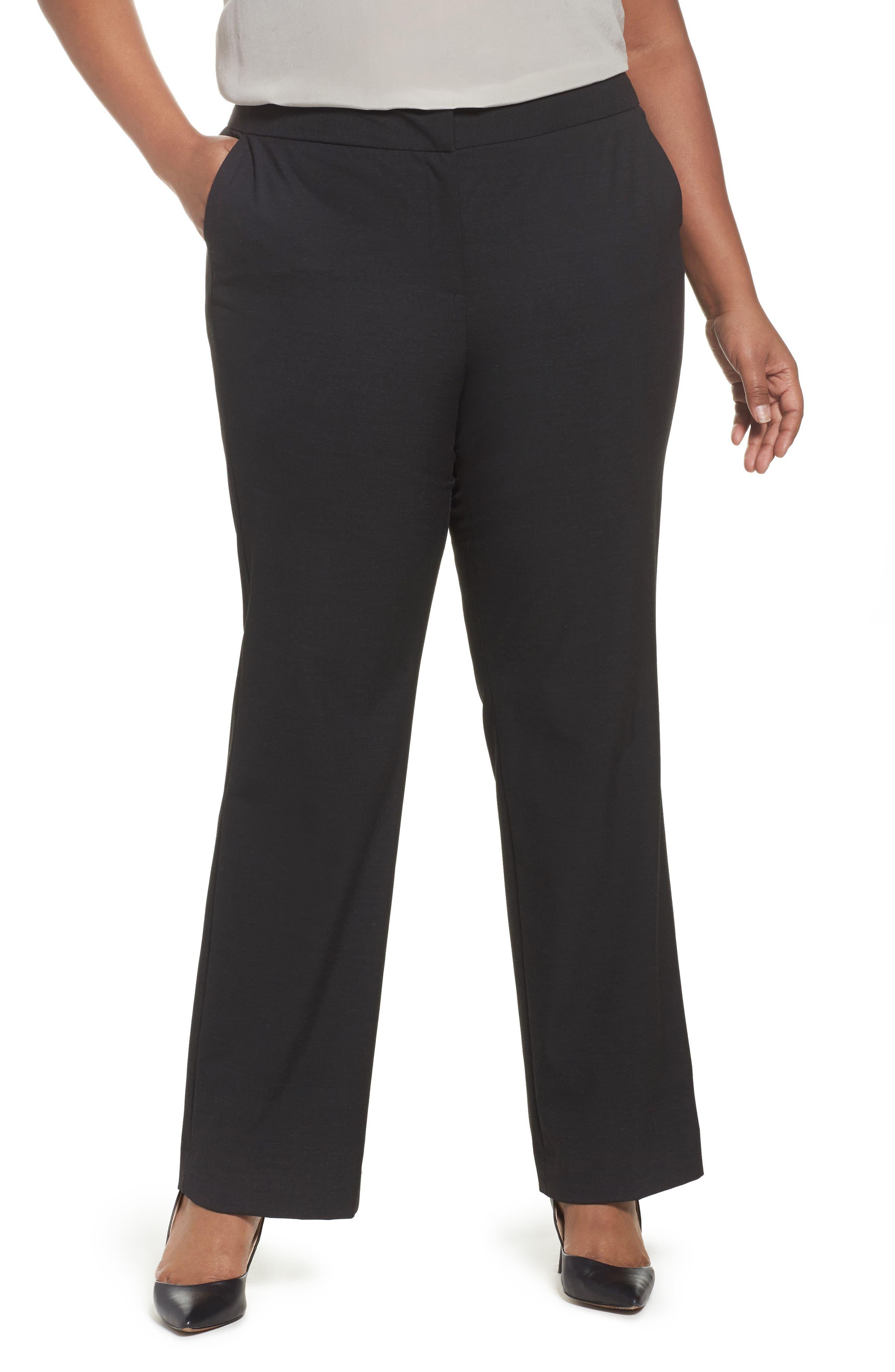 'Ela' Stretch Curvy Fit Wide Leg Suit Pants,                         Main,                         color, 022