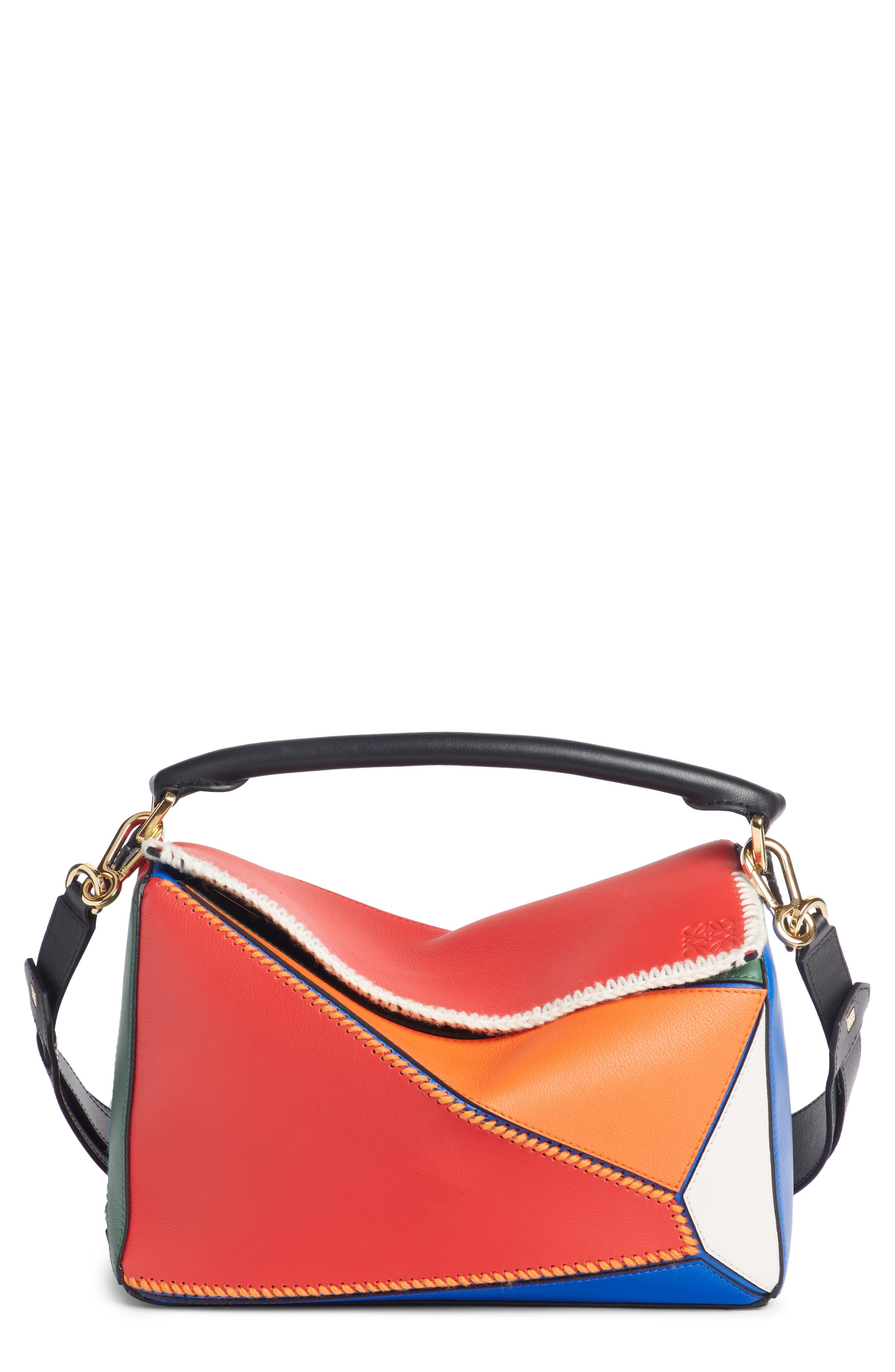 Puzzle Calfskin Leather Bag,                             Main thumbnail 1, color,                             RED MULTI