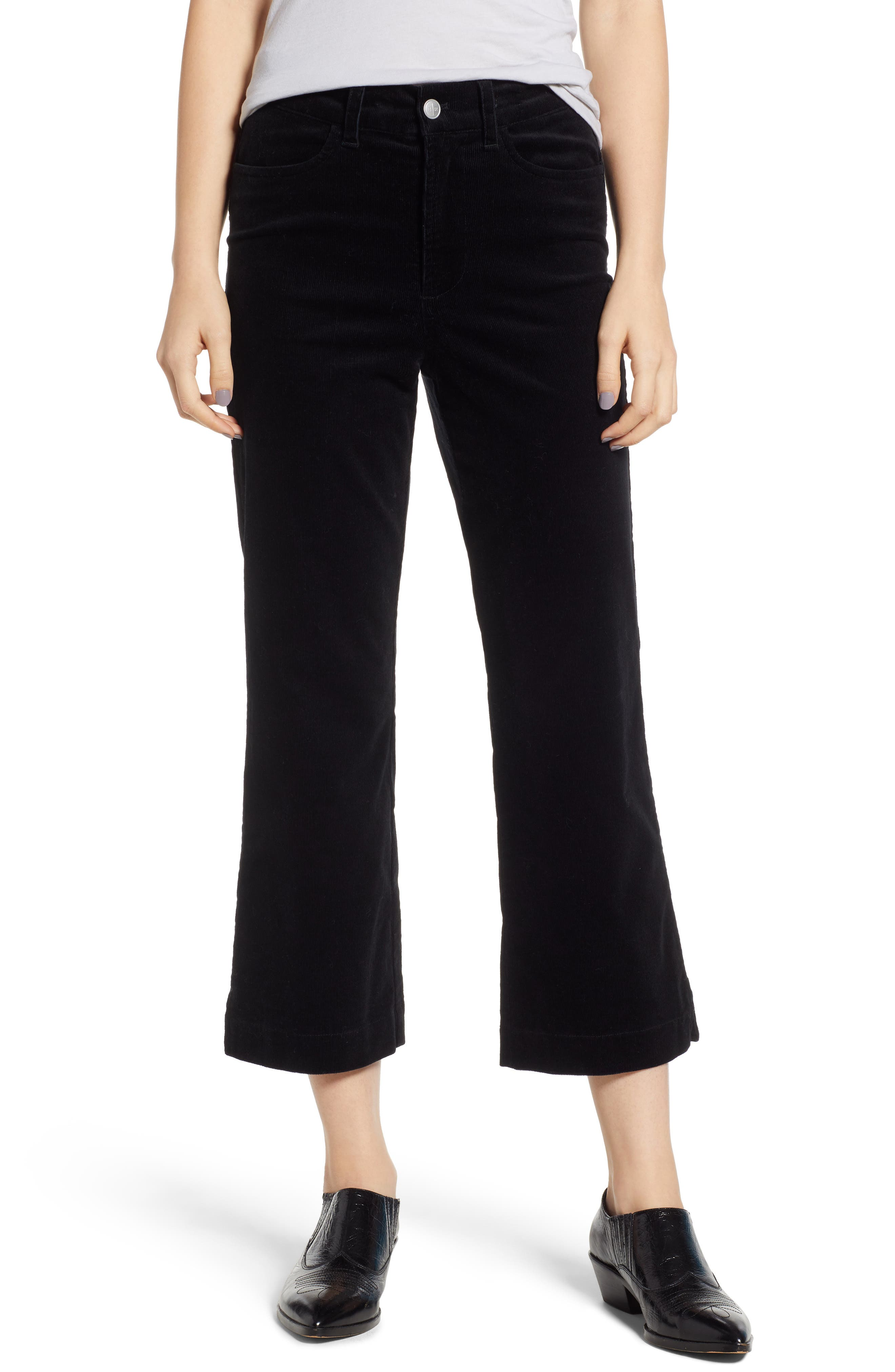 Bp. Corduroy Crop Flare Pants, Black