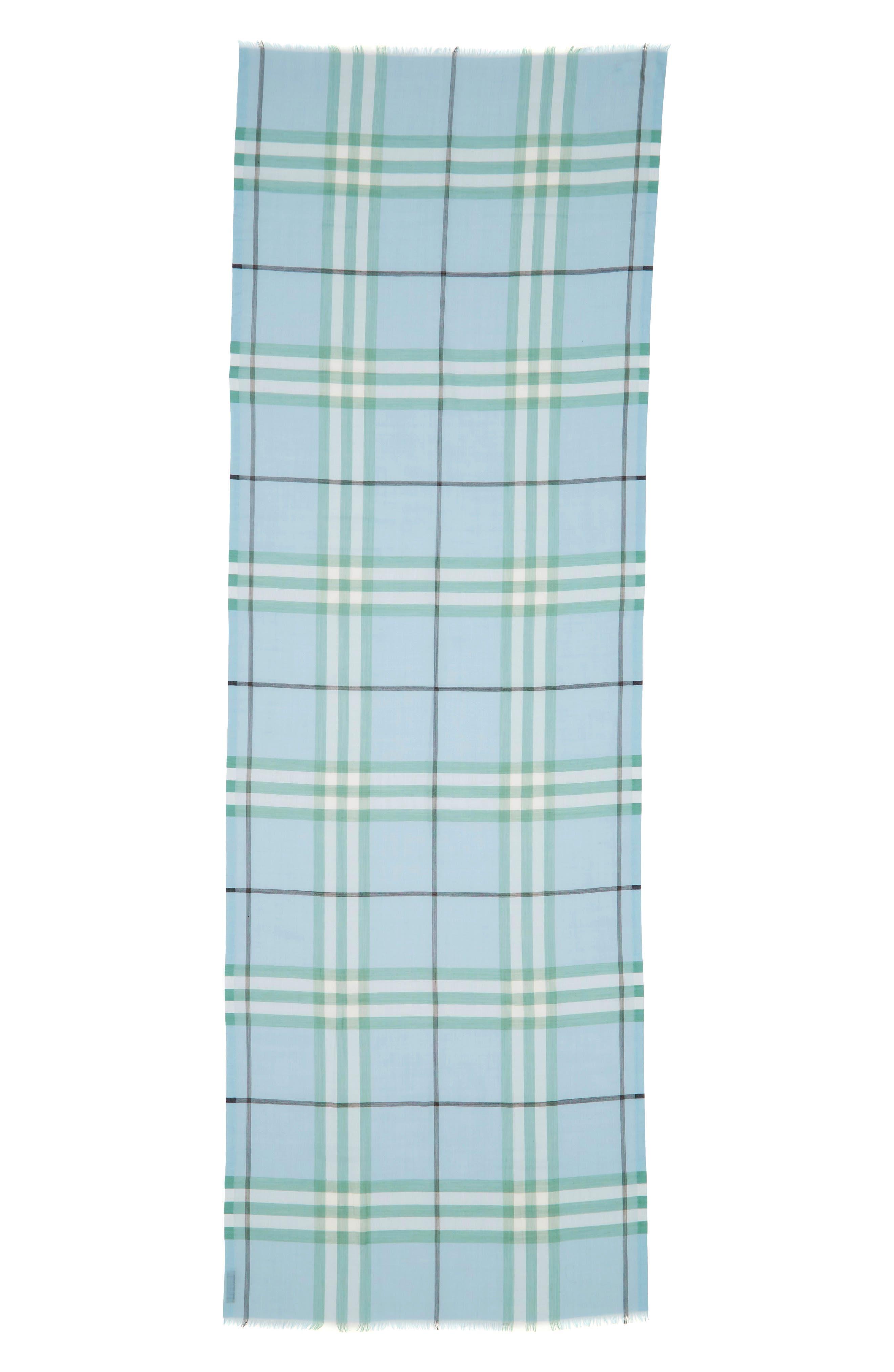 Giant Check Gauze Wool & Silk Scarf,                             Alternate thumbnail 3, color,                             PALE PERIDOT BLUE