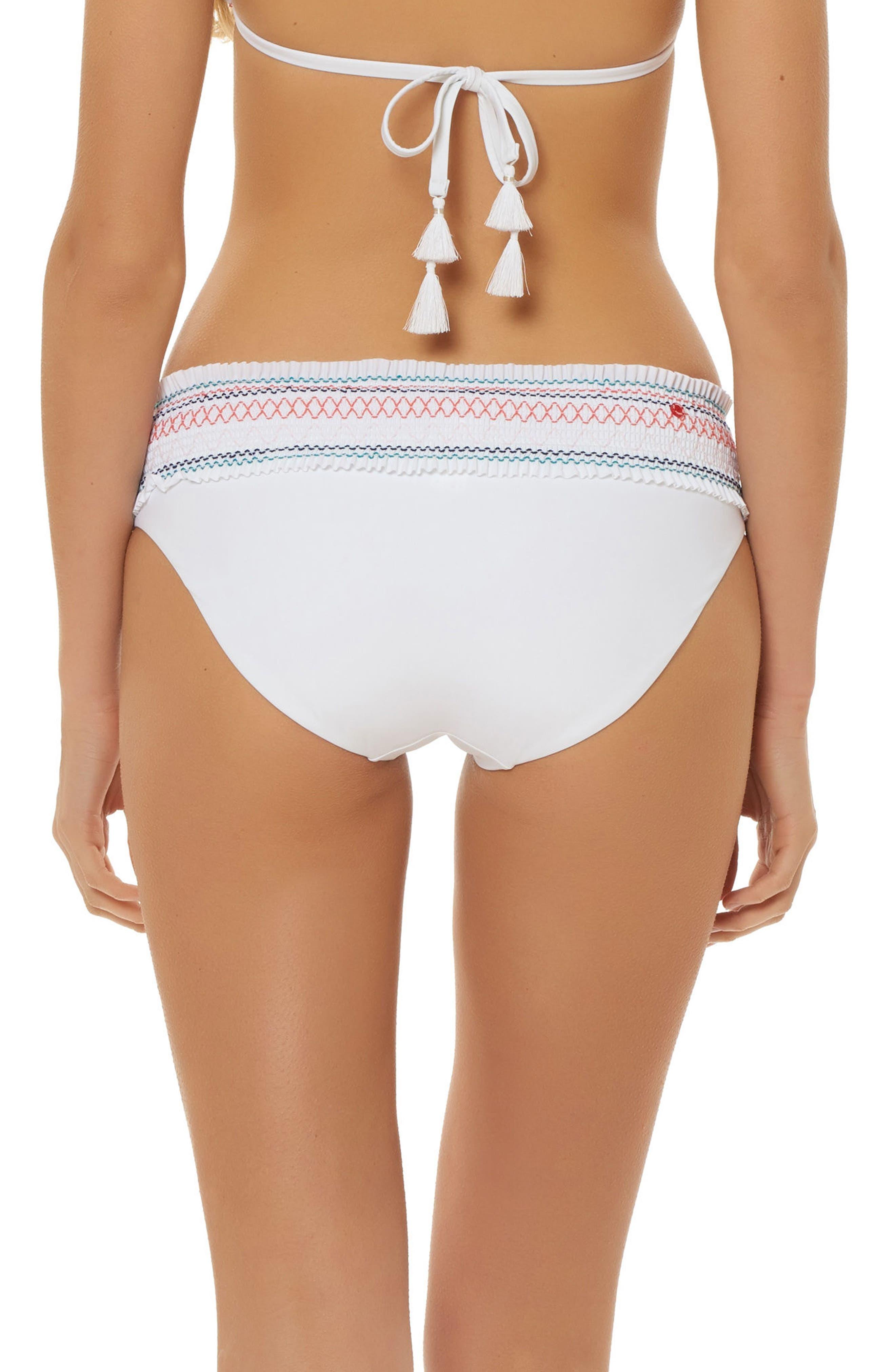 Smocked Waistband Hipster Bikini Bottoms,                             Alternate thumbnail 2, color,                             WHITE