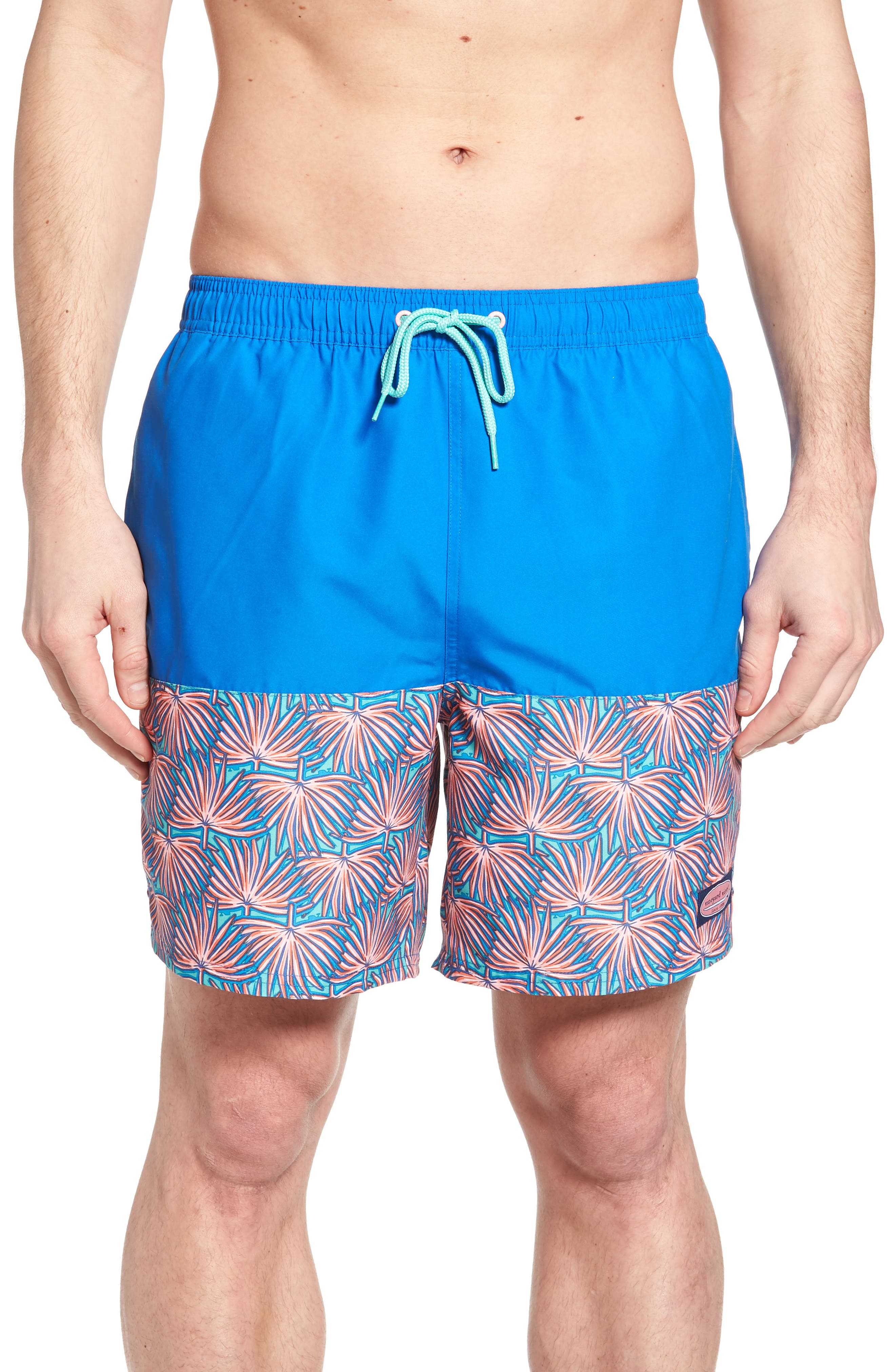 Fan Palmed Print Swim Trunks,                         Main,                         color, 400