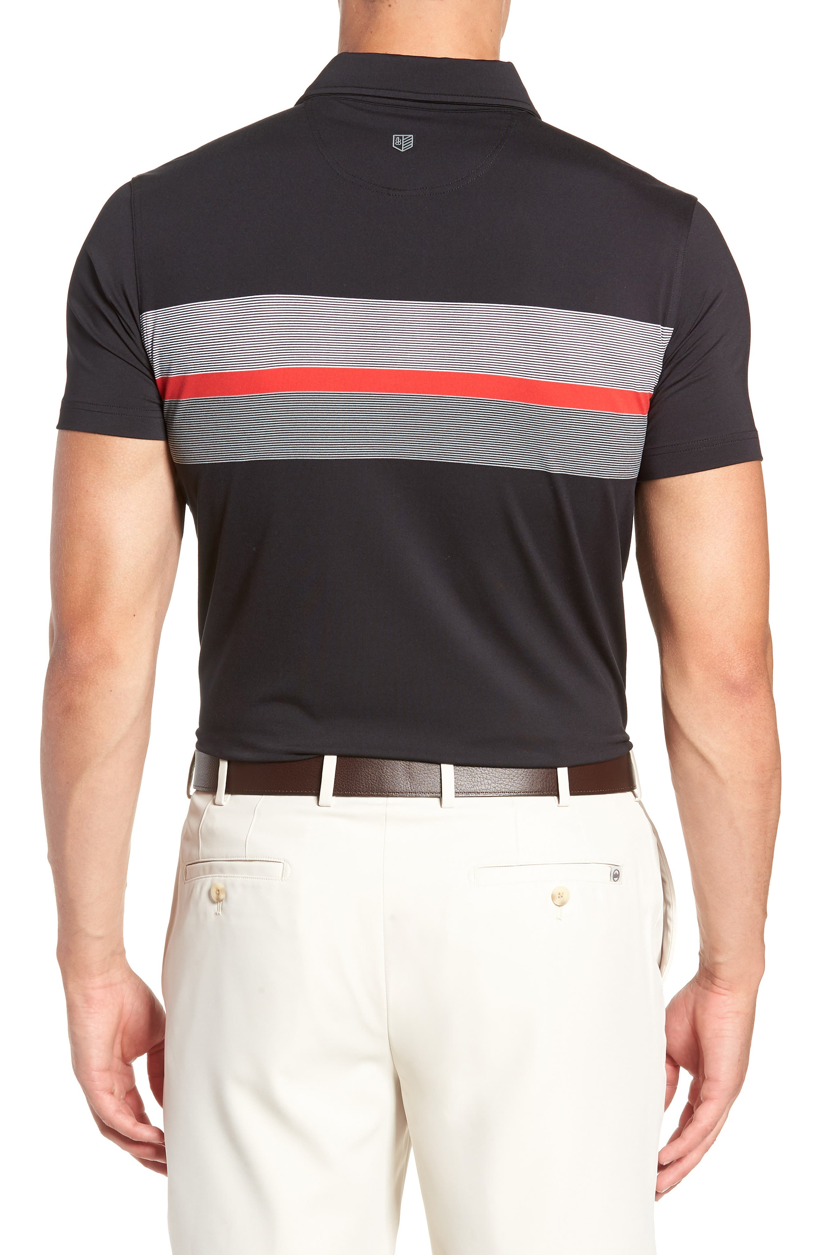 R18 Tech Daytona Stripe Golf Polo,                             Alternate thumbnail 2, color,                             BLACK