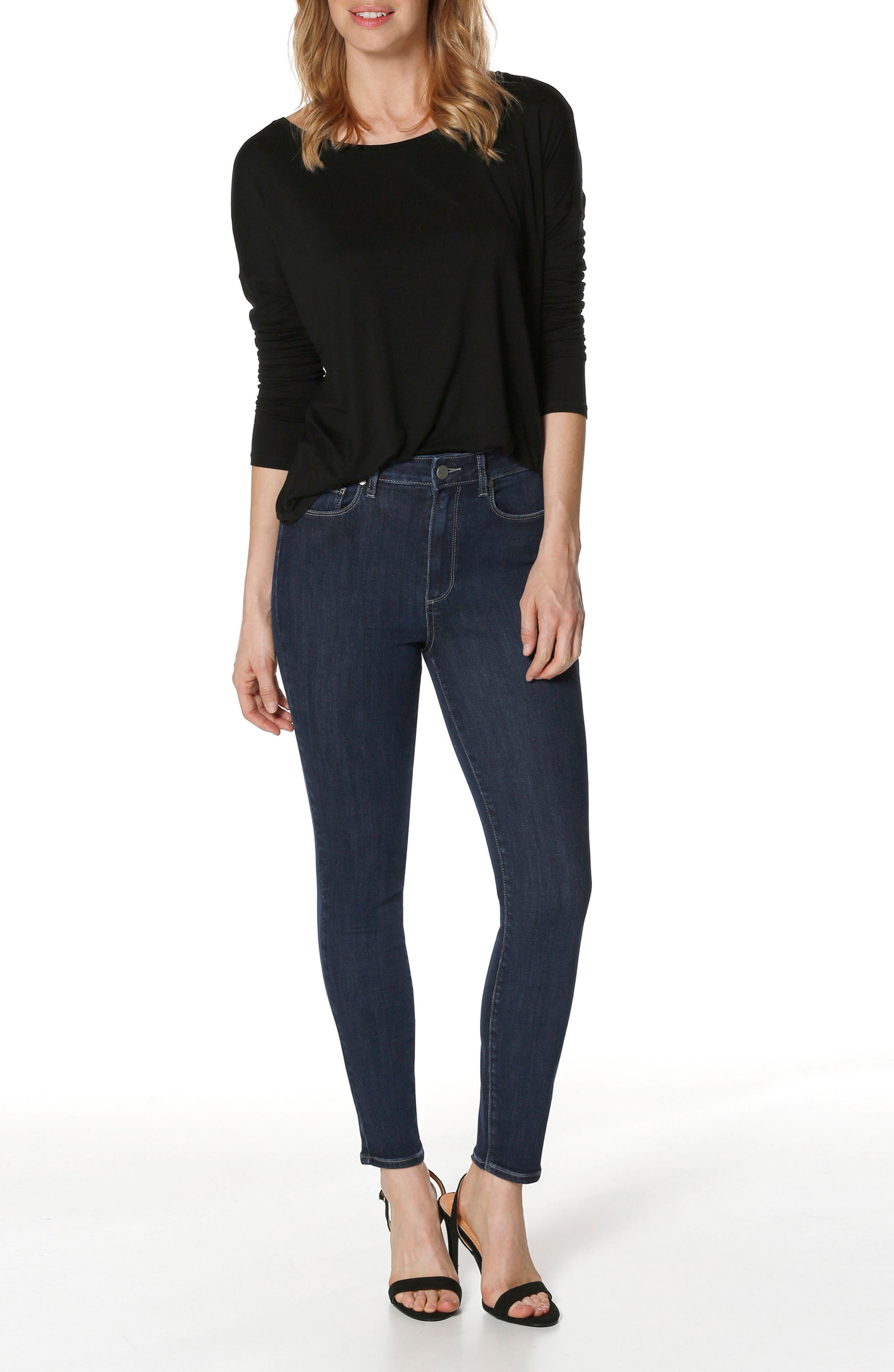 Transcend Vintage - Margot High Waist Ankle Ultra Skinny Jeans,                             Alternate thumbnail 3, color,